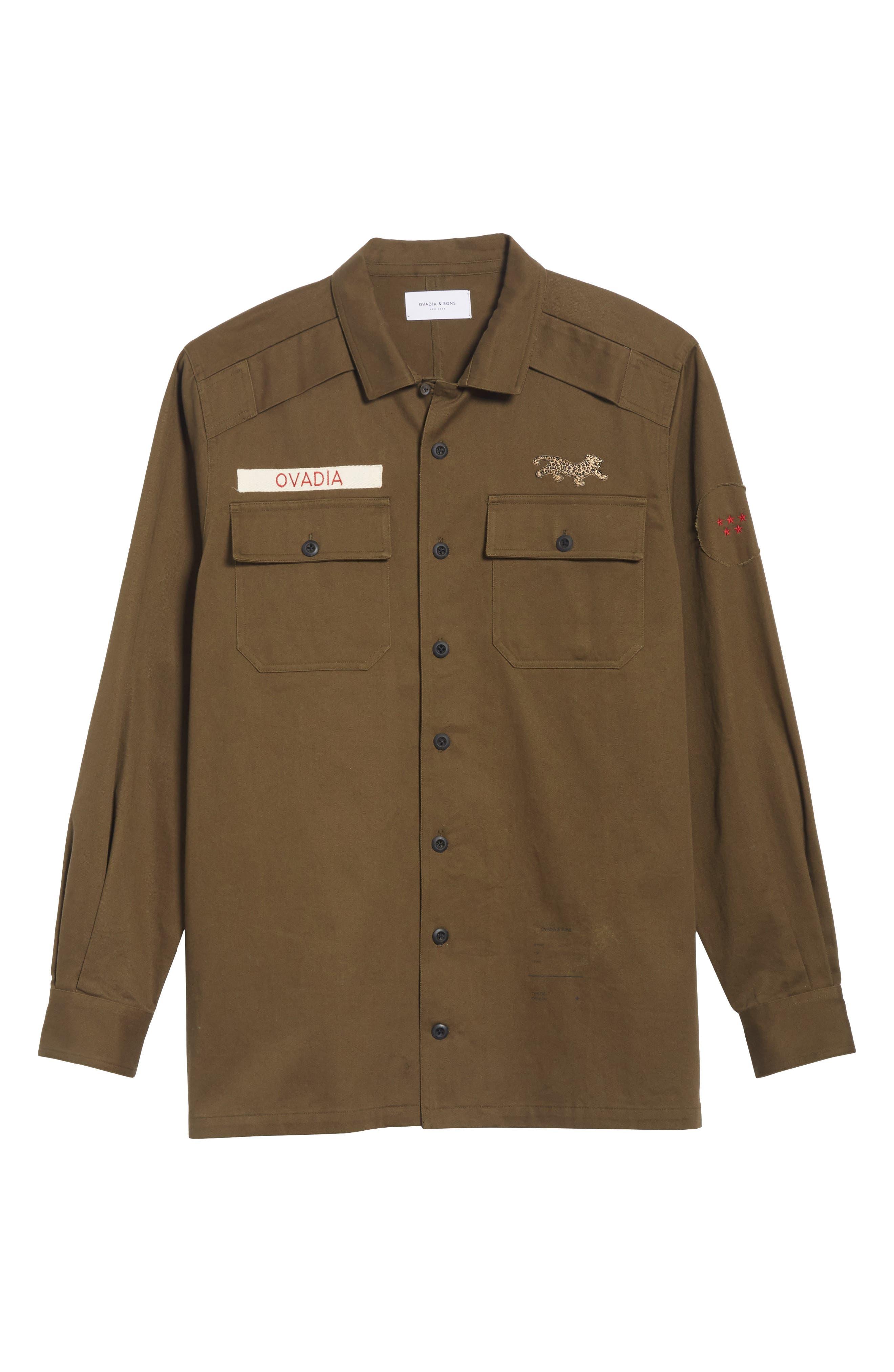 OVADIA & SONS,                             Military Woven Shirt,                             Alternate thumbnail 6, color,                             325