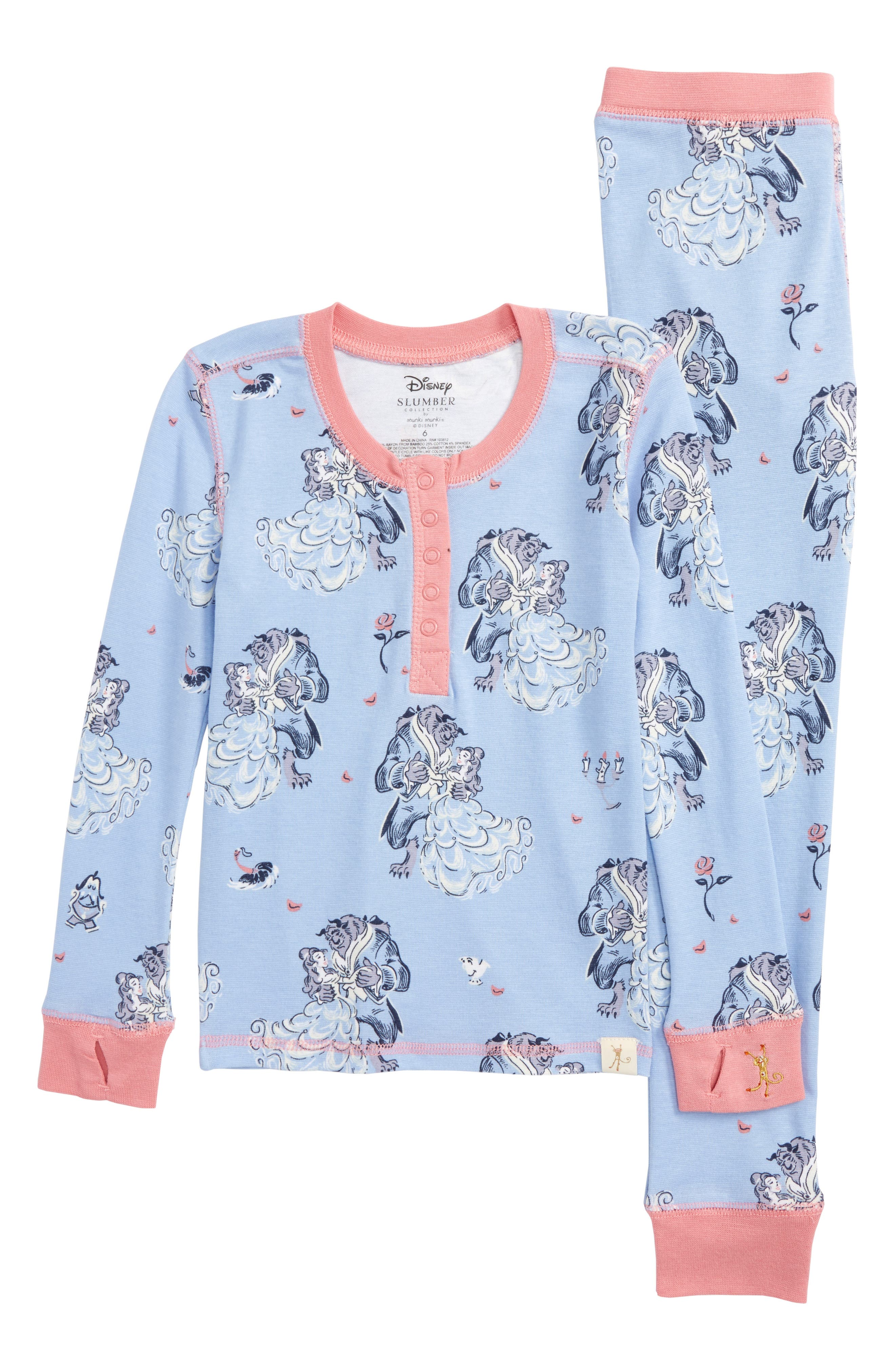Disney – Beauty & The Beast Fitted Two-Piece Pajamas,                             Main thumbnail 1, color,