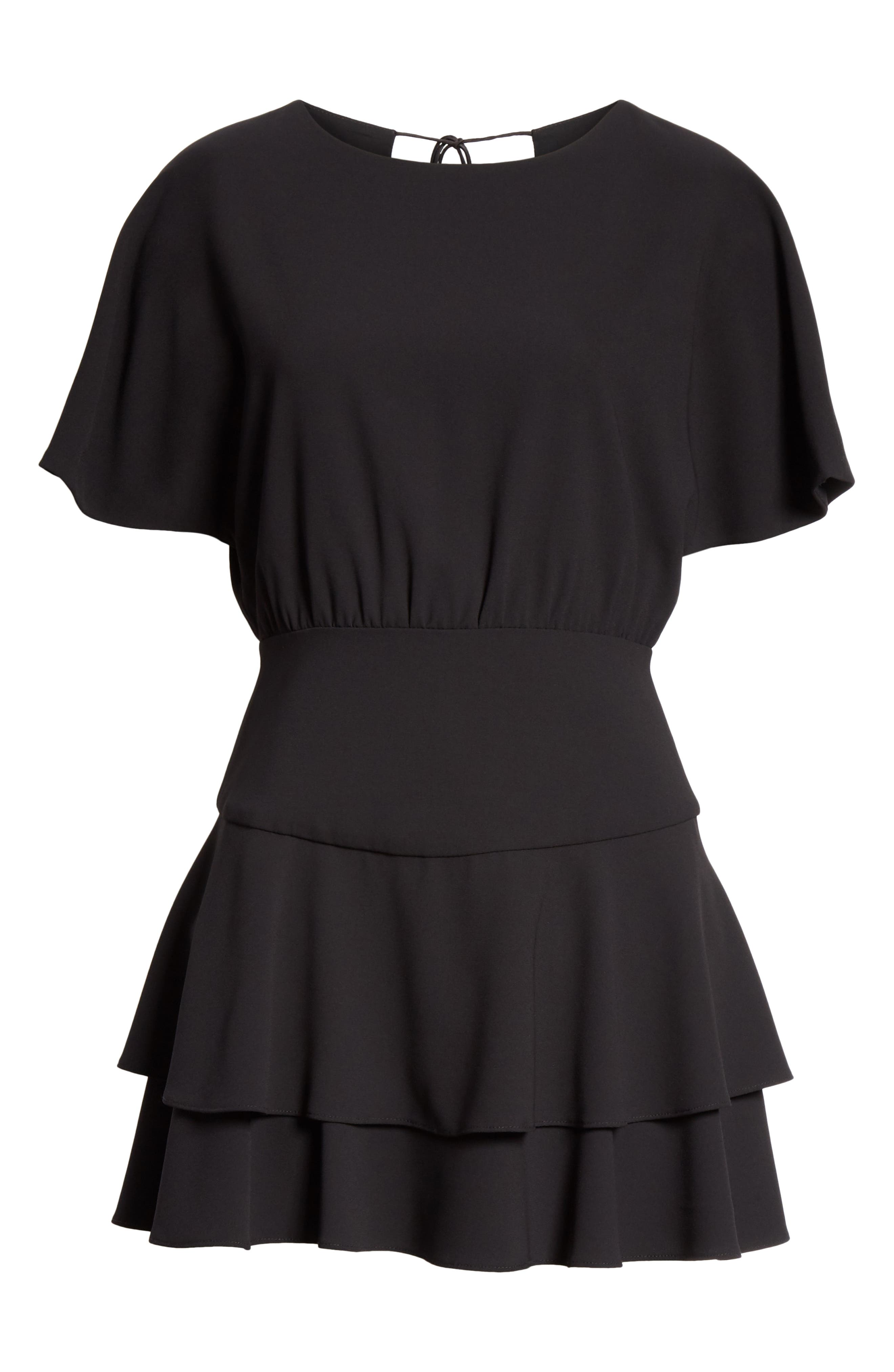 Palmira Tiered Fit & Flare Minidress,                             Alternate thumbnail 7, color,                             001