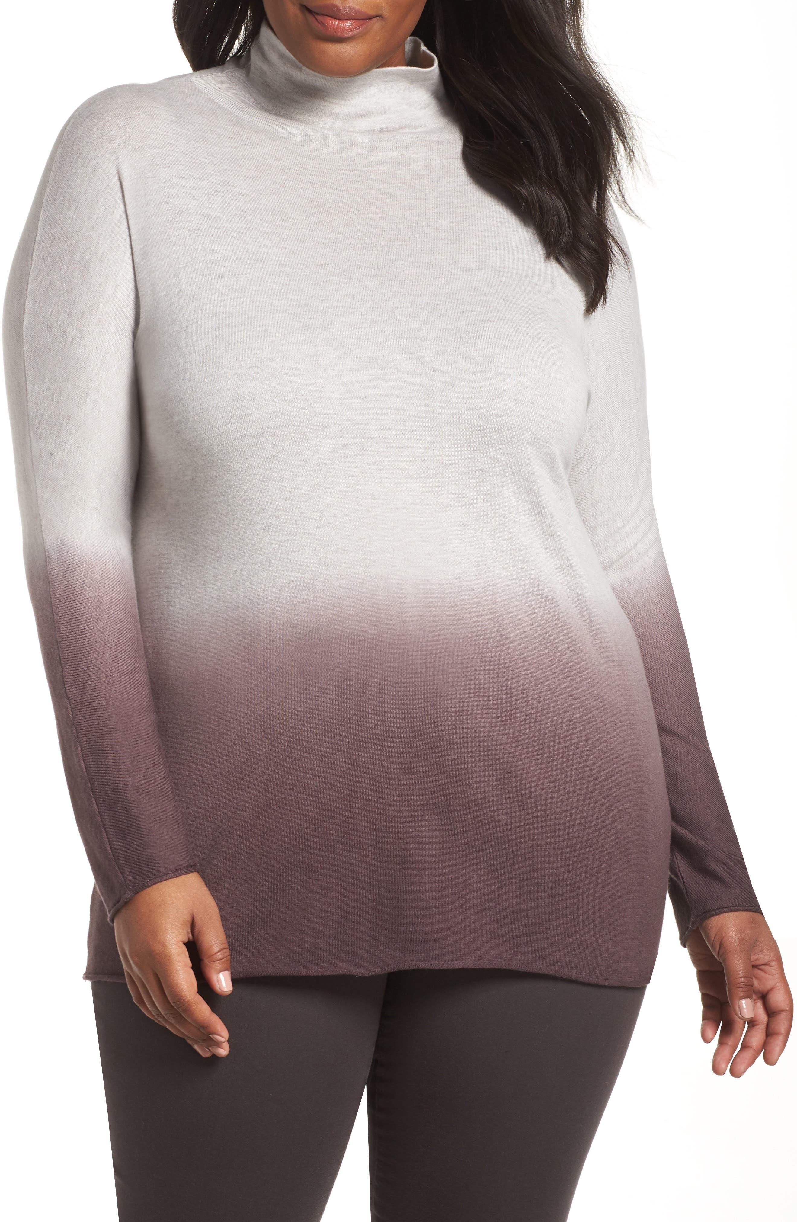 Plus Size Nic+Zoe Traveler Ombre Turtleneck, Purple