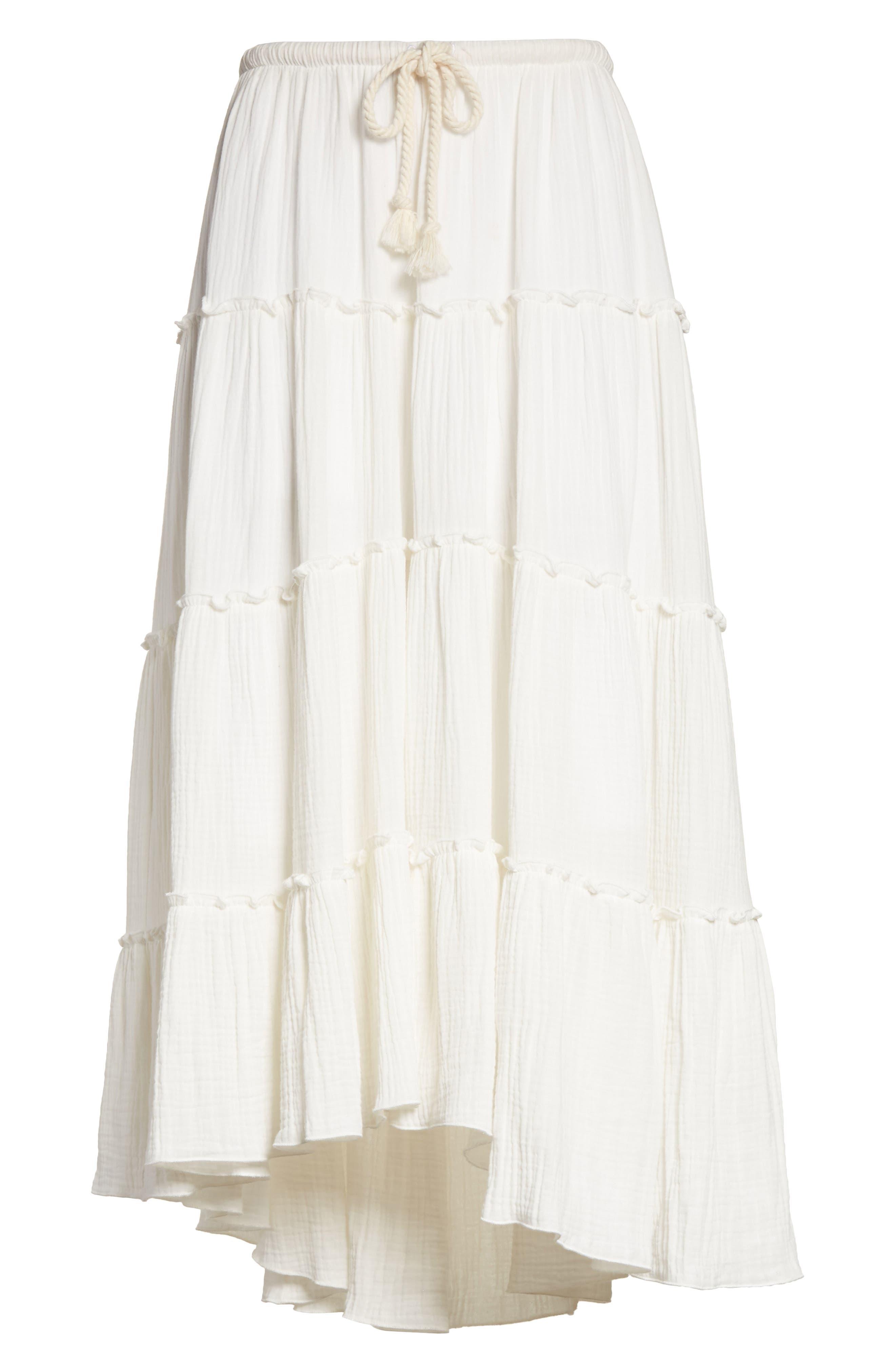 Crinkled Cotton Midi Skirt,                             Alternate thumbnail 6, color,                             101