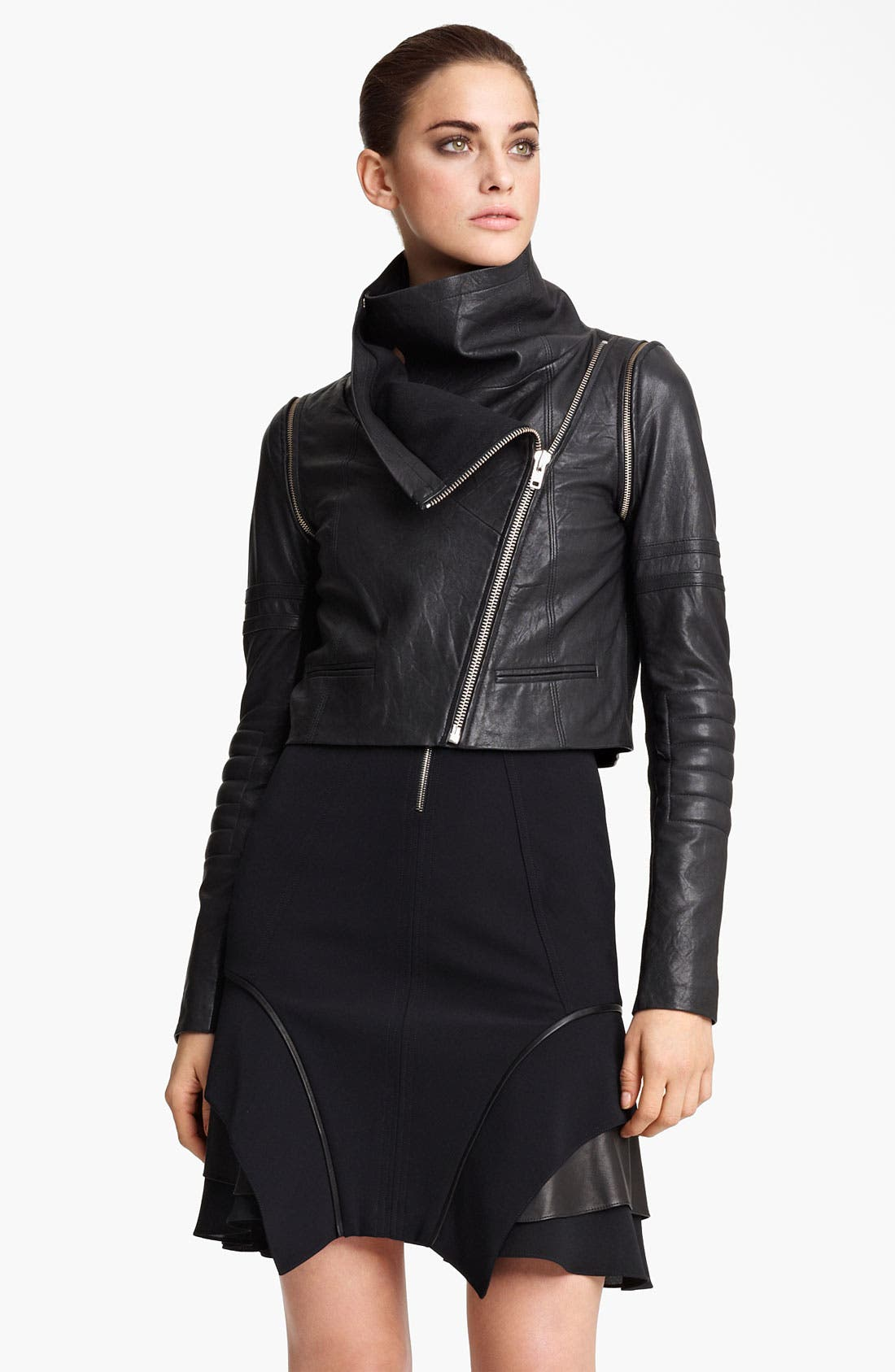 YIGAL AZROUËL Lambskin Leather Moto Jacket, Main, color, 001