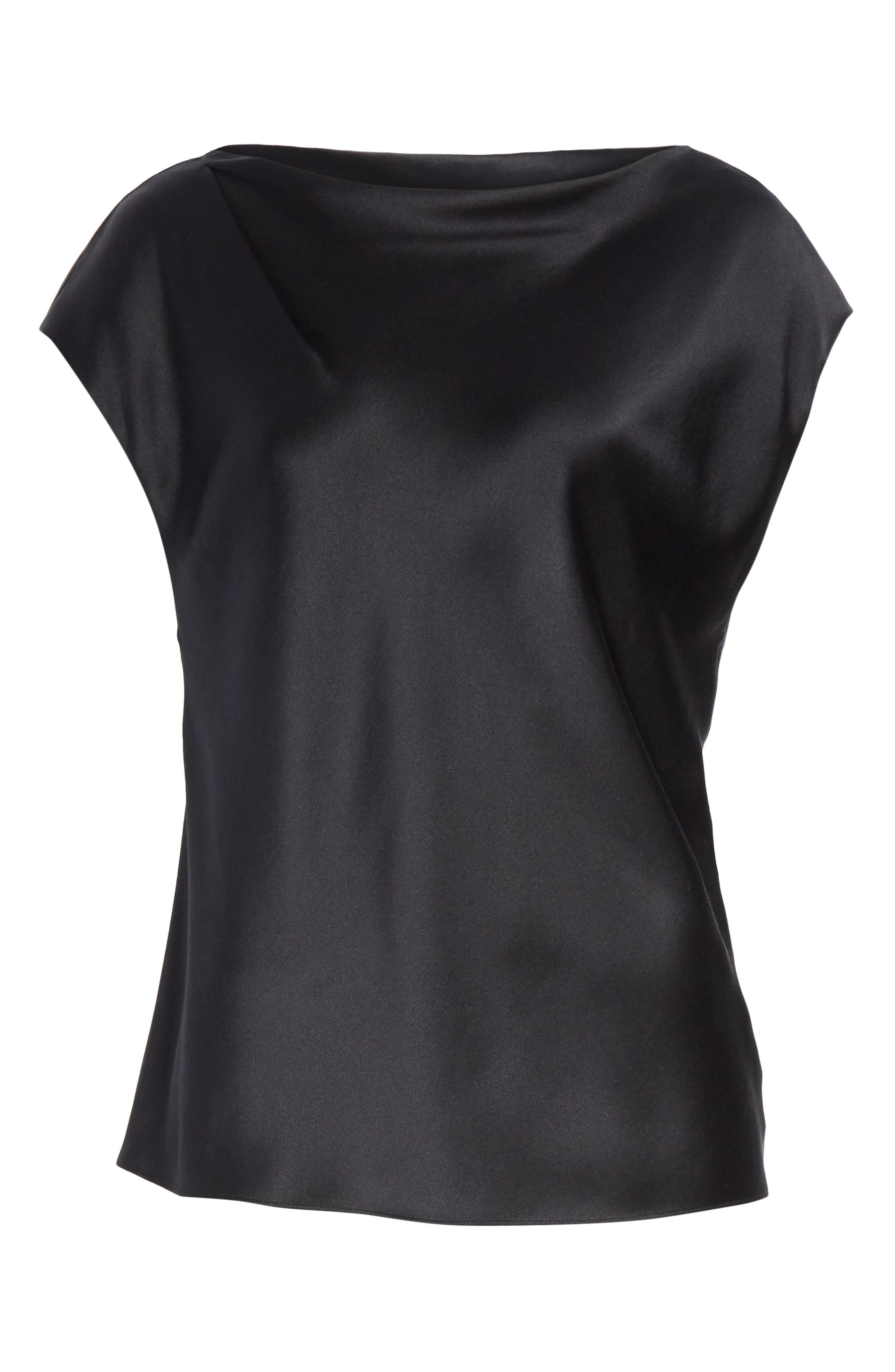 Silk Off the Shoulder Blouse,                             Alternate thumbnail 6, color,                             001