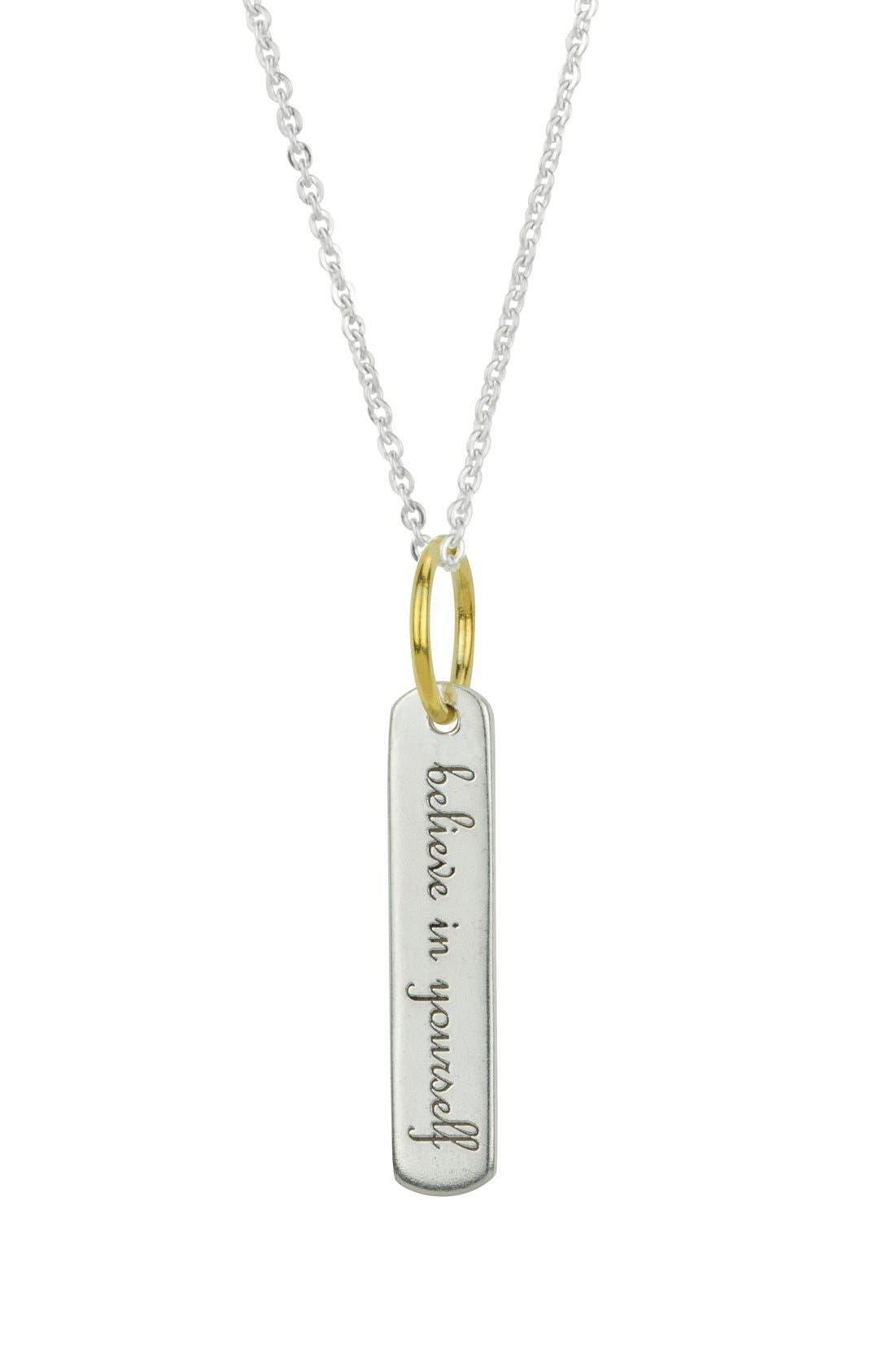 BARONI,                             'Believe' Engraved Pendant Necklace,                             Main thumbnail 1, color,                             040
