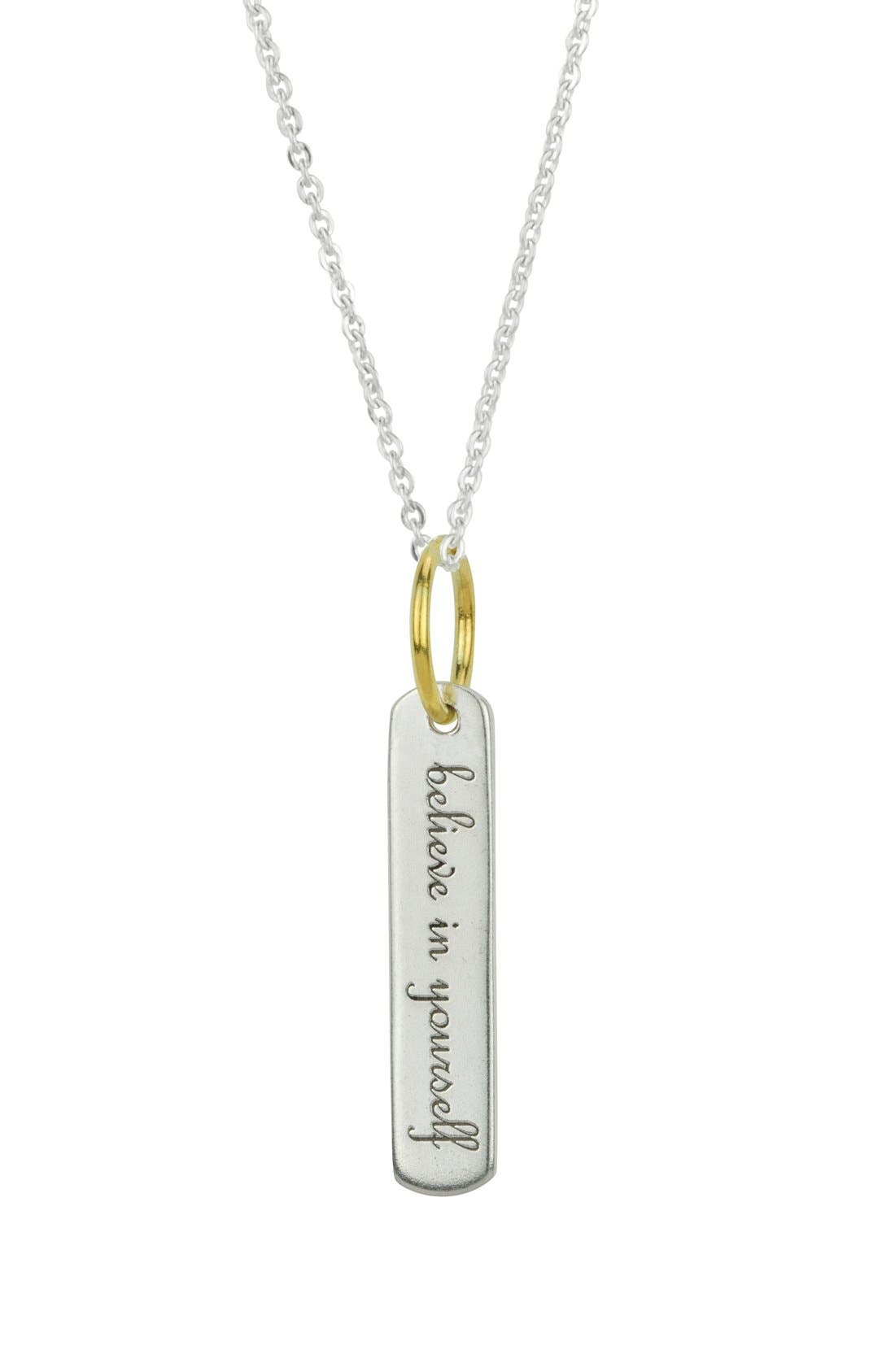 BARONI 'Believe' Engraved Pendant Necklace, Main, color, 040