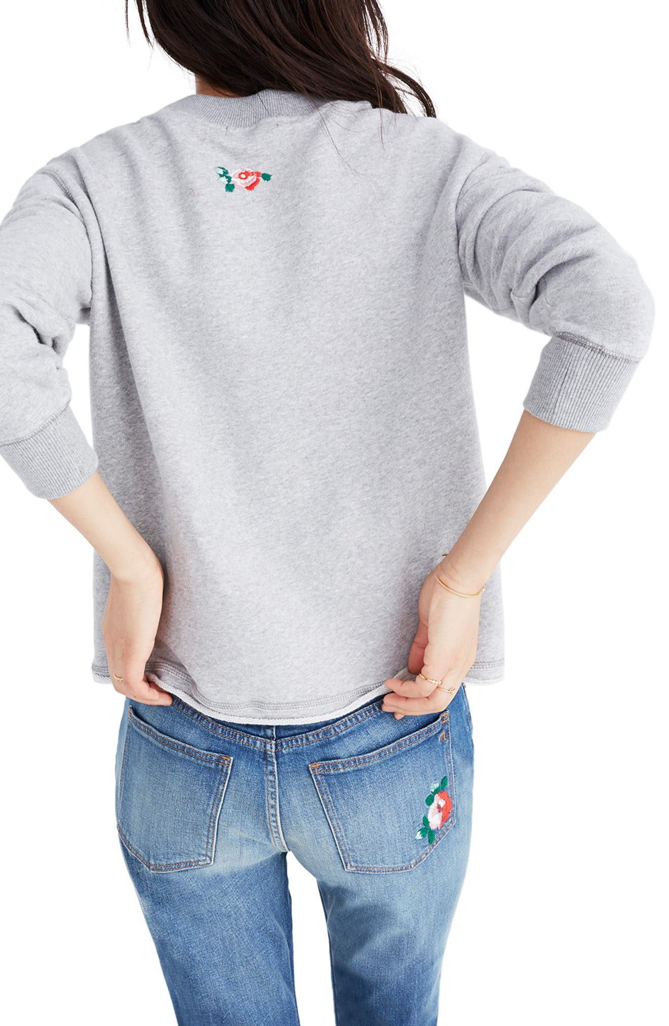 Embroidered Crop Sweatshirt,                             Alternate thumbnail 2, color,                             020