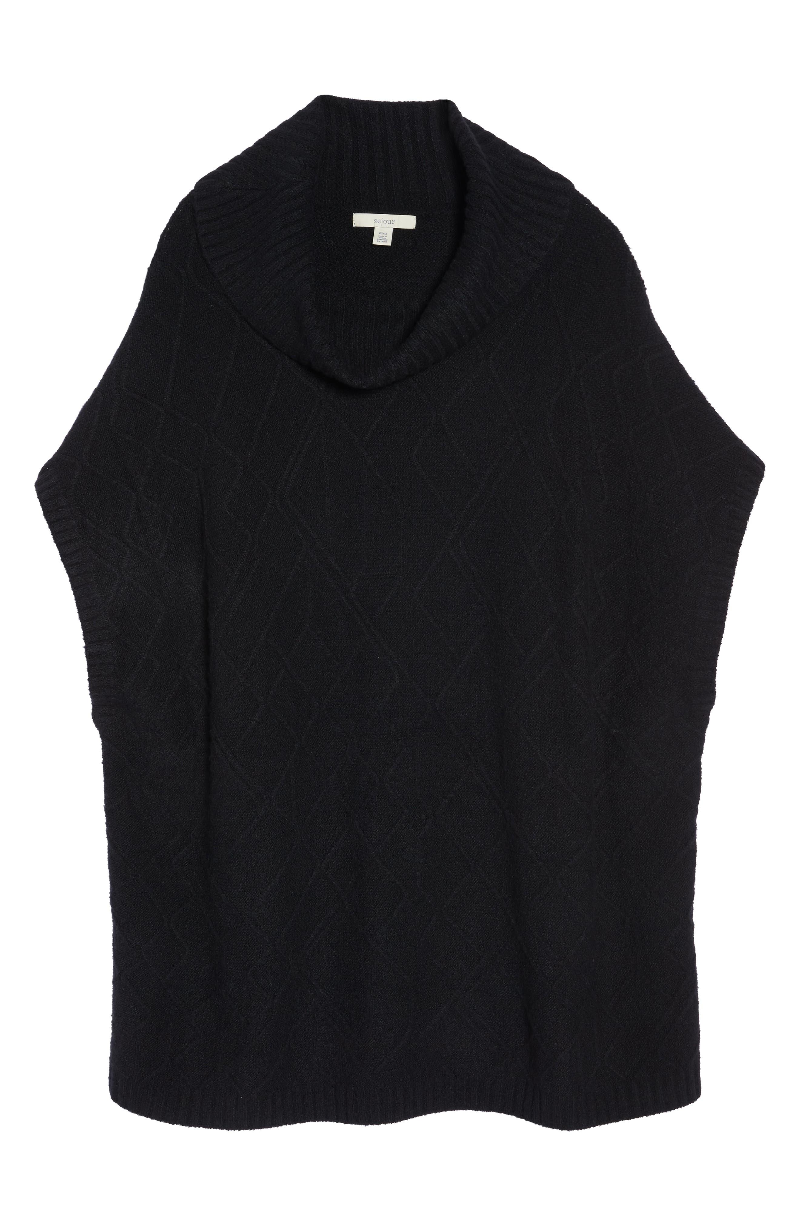 Poncho Sweater,                             Alternate thumbnail 6, color,                             BLACK