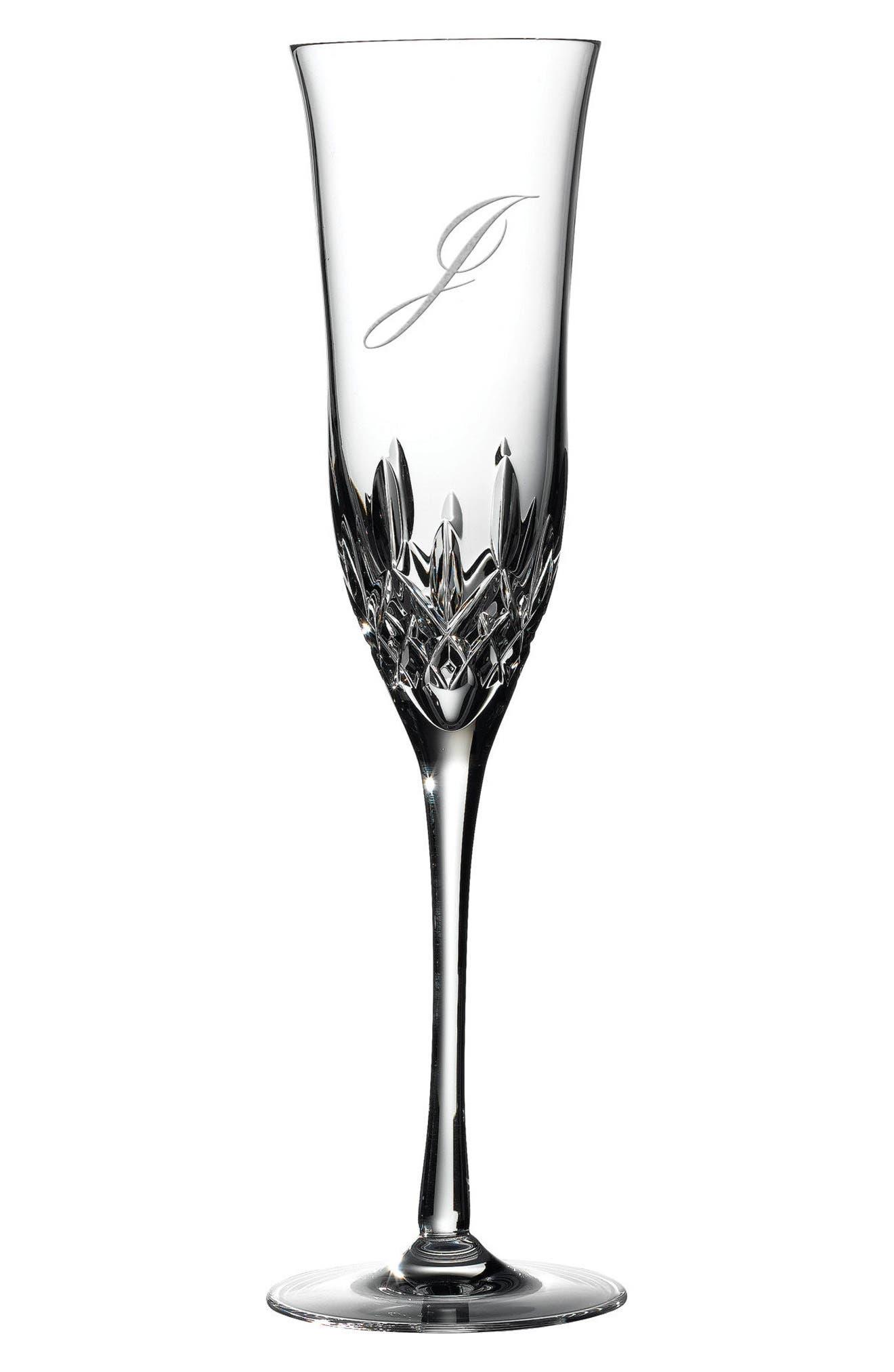 Lismore Essence Set of 2 Monogram Lead Crystal Champagne Flutes,                             Main thumbnail 13, color,