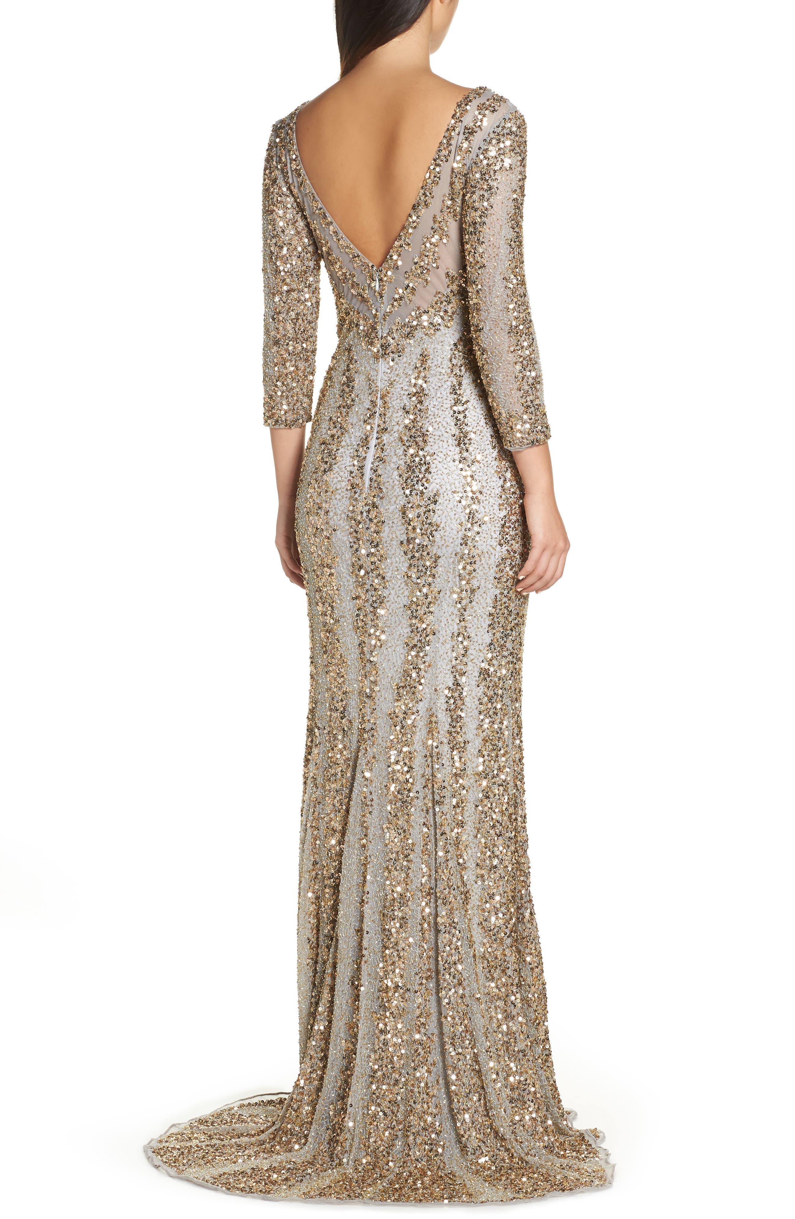 Sequin Gown,                             Alternate thumbnail 2, color,                             NUDE/ PLATINUM