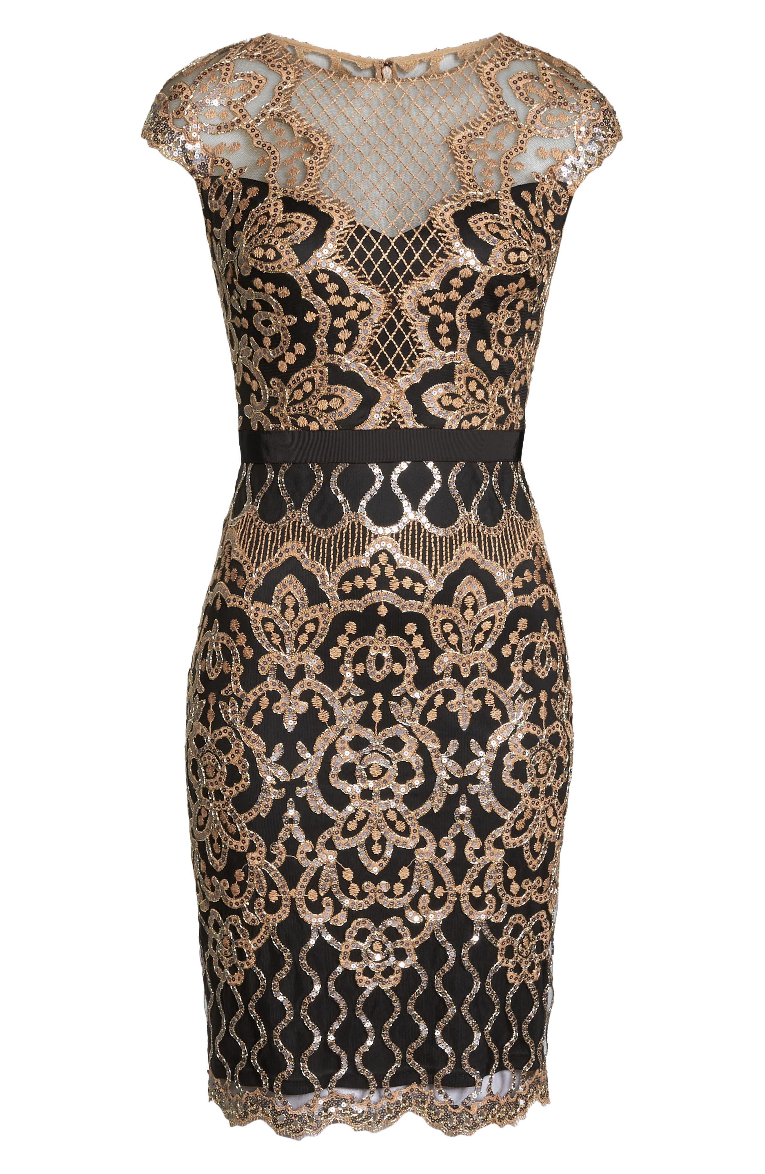 Sequin Embellished Dress,                             Alternate thumbnail 7, color,                             COPPER SHADOW/ BLACK