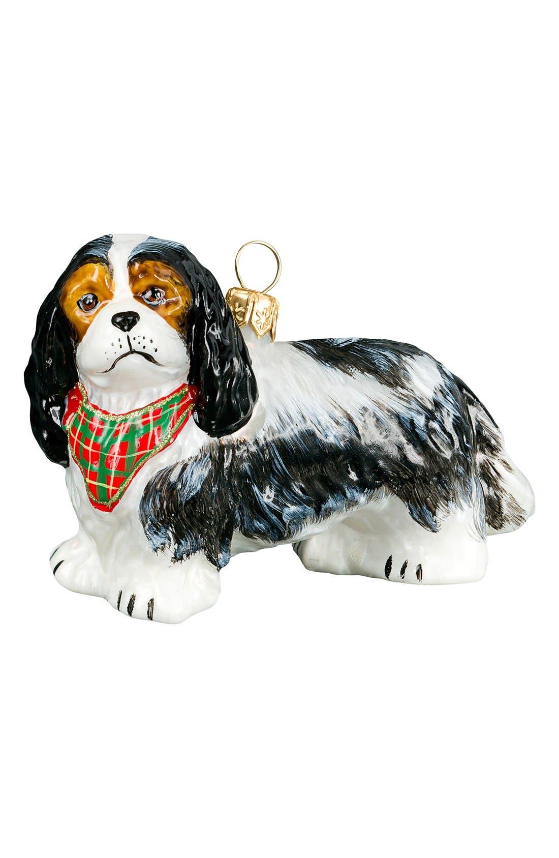 'Dog with Bandana' Ornament,                             Main thumbnail 1, color,                             CAVALIER KING CHARLES SPANIEL