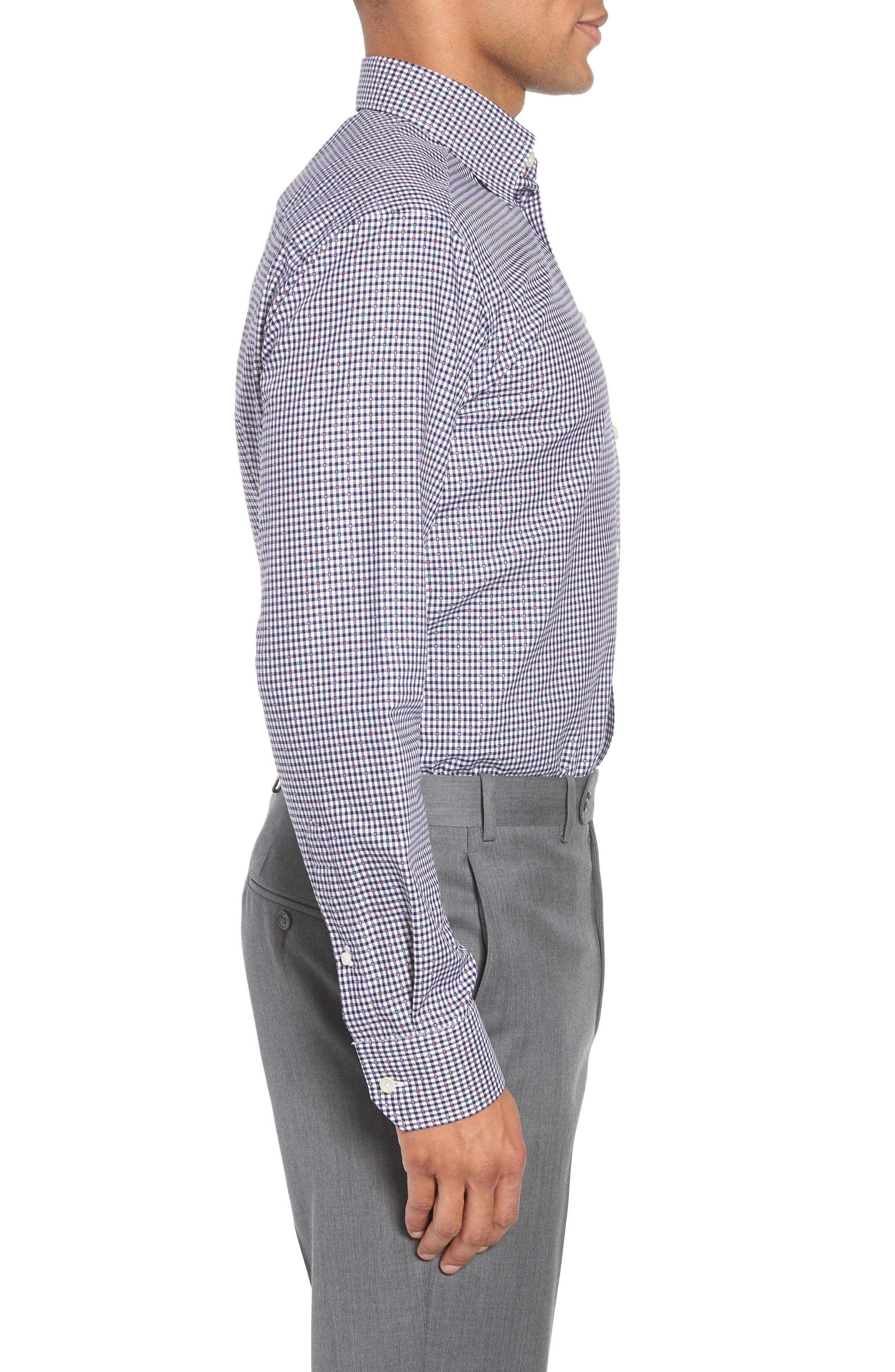 Slim Fit Check Dress Shirt,                             Alternate thumbnail 4, color,                             BLUE