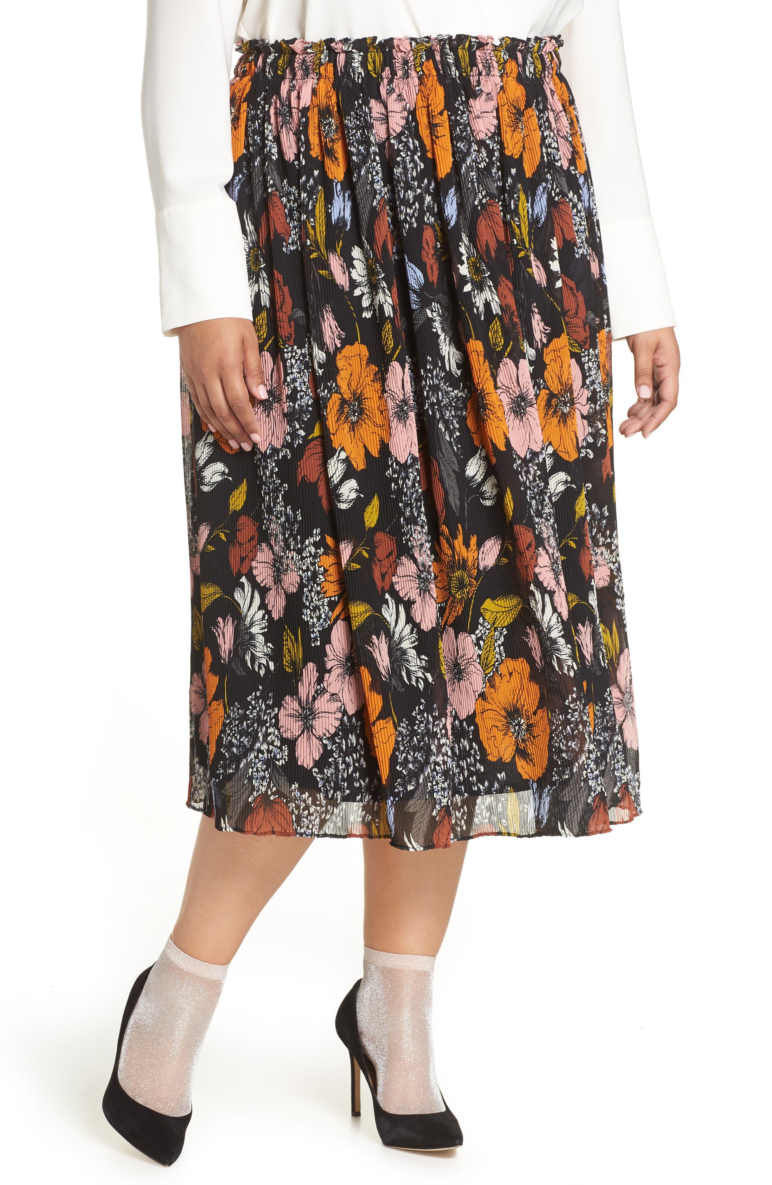 Plus Size Halogen X Atlantic-Pacific Crinkle Midi Skirt, Black