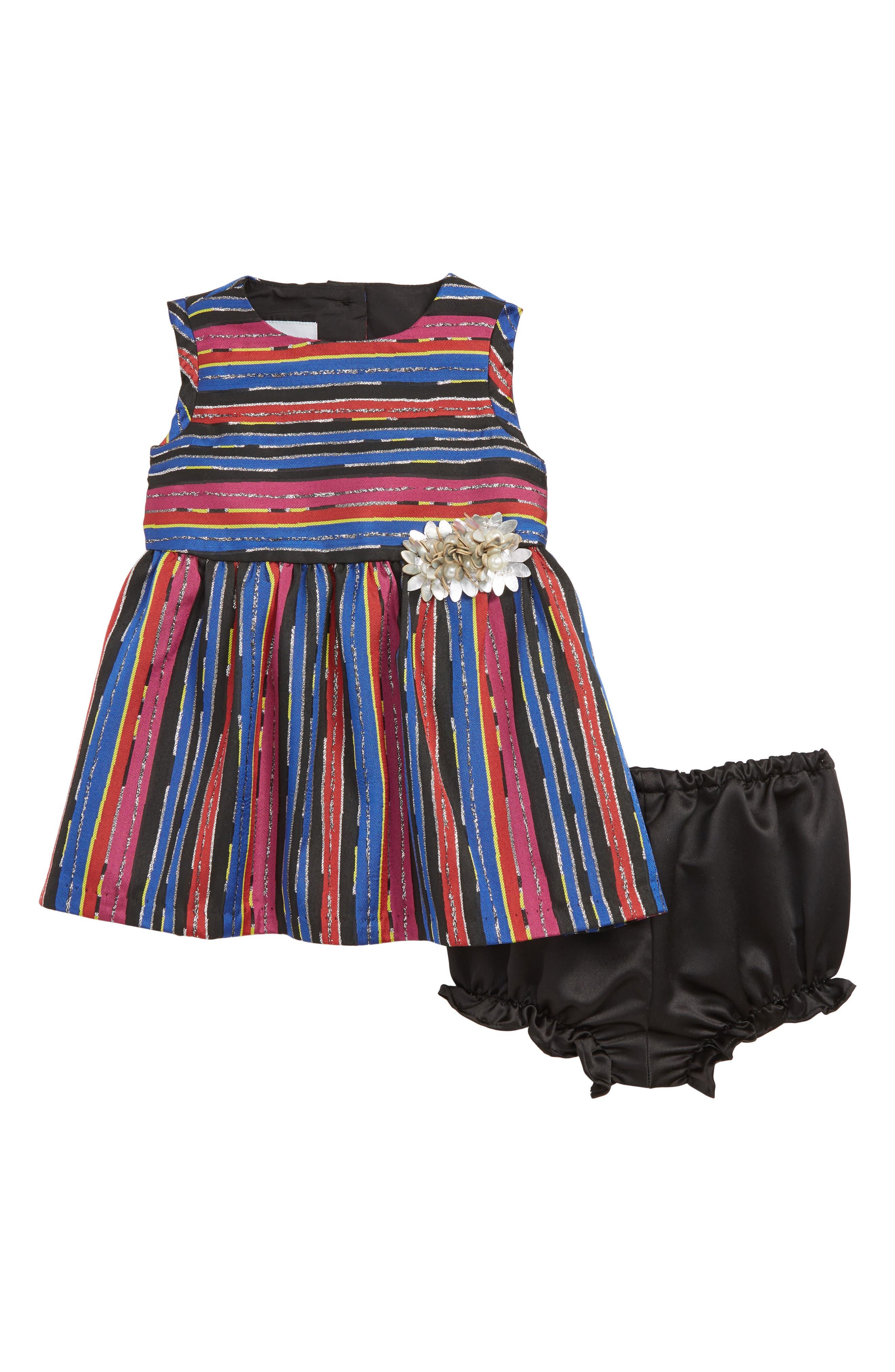 PIPPA & JULIE Stripe Brocade Dress, Main, color, BLUE MULTI