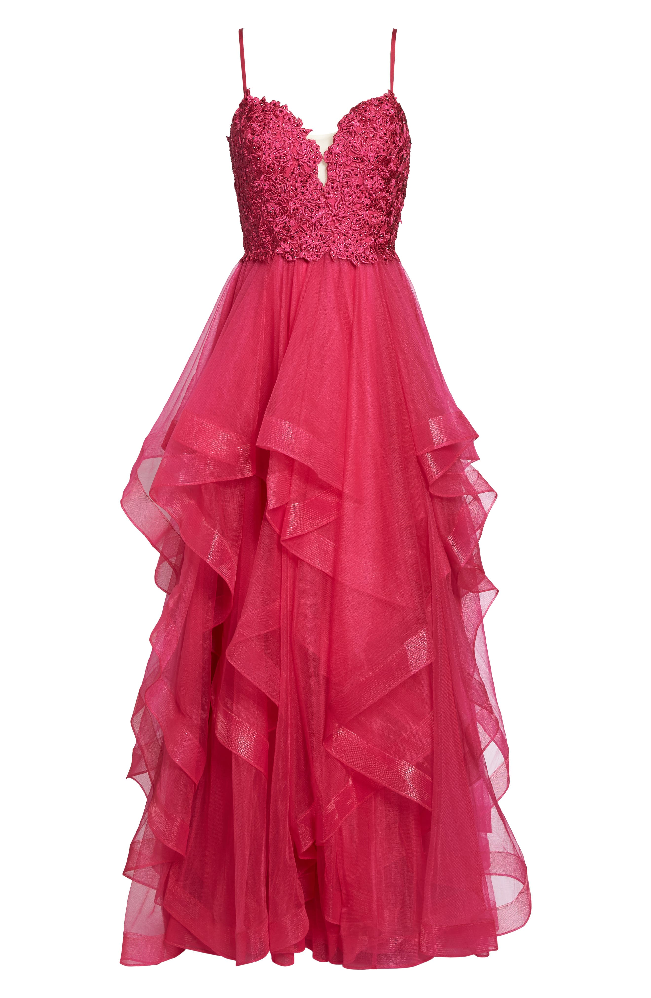Lace & Tiered Tulle Ballgown,                             Alternate thumbnail 6, color,                             HOT FUCHSIA