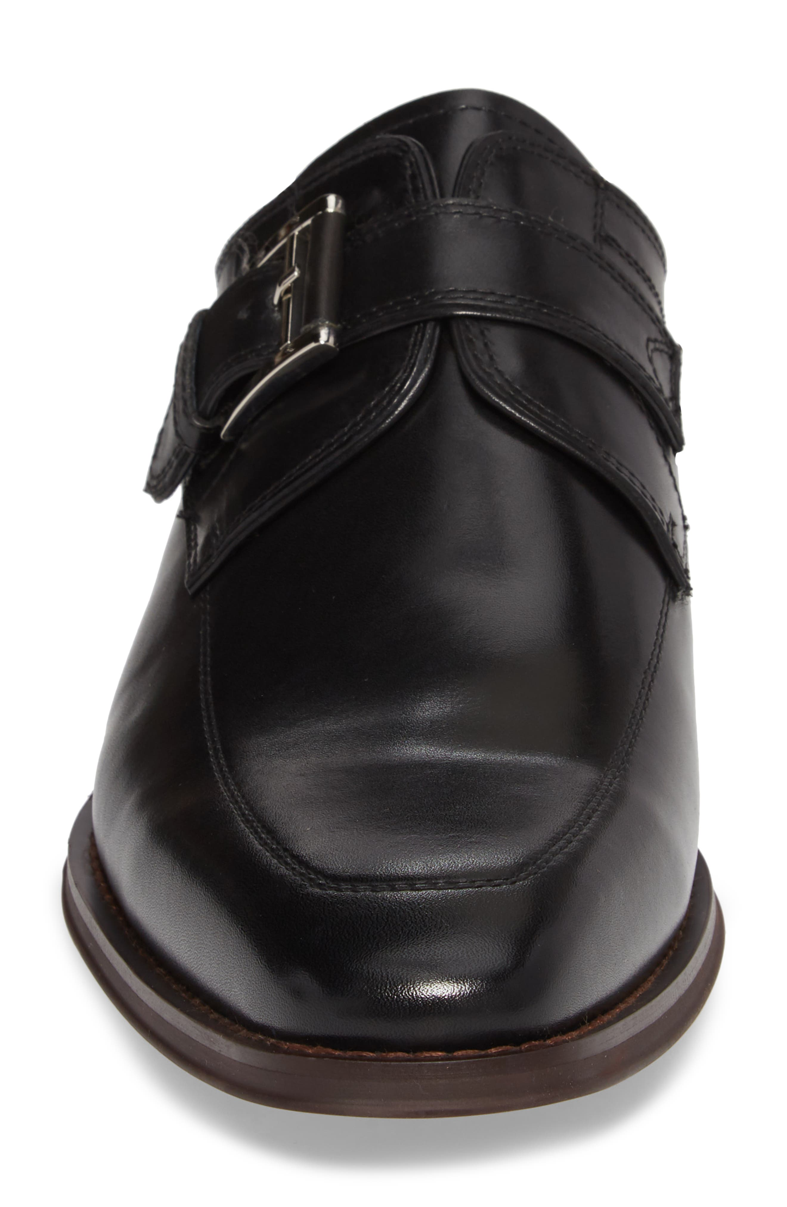 Merlot Single Buckle Monk Shoe,                             Alternate thumbnail 4, color,                             BLACK LEATHER