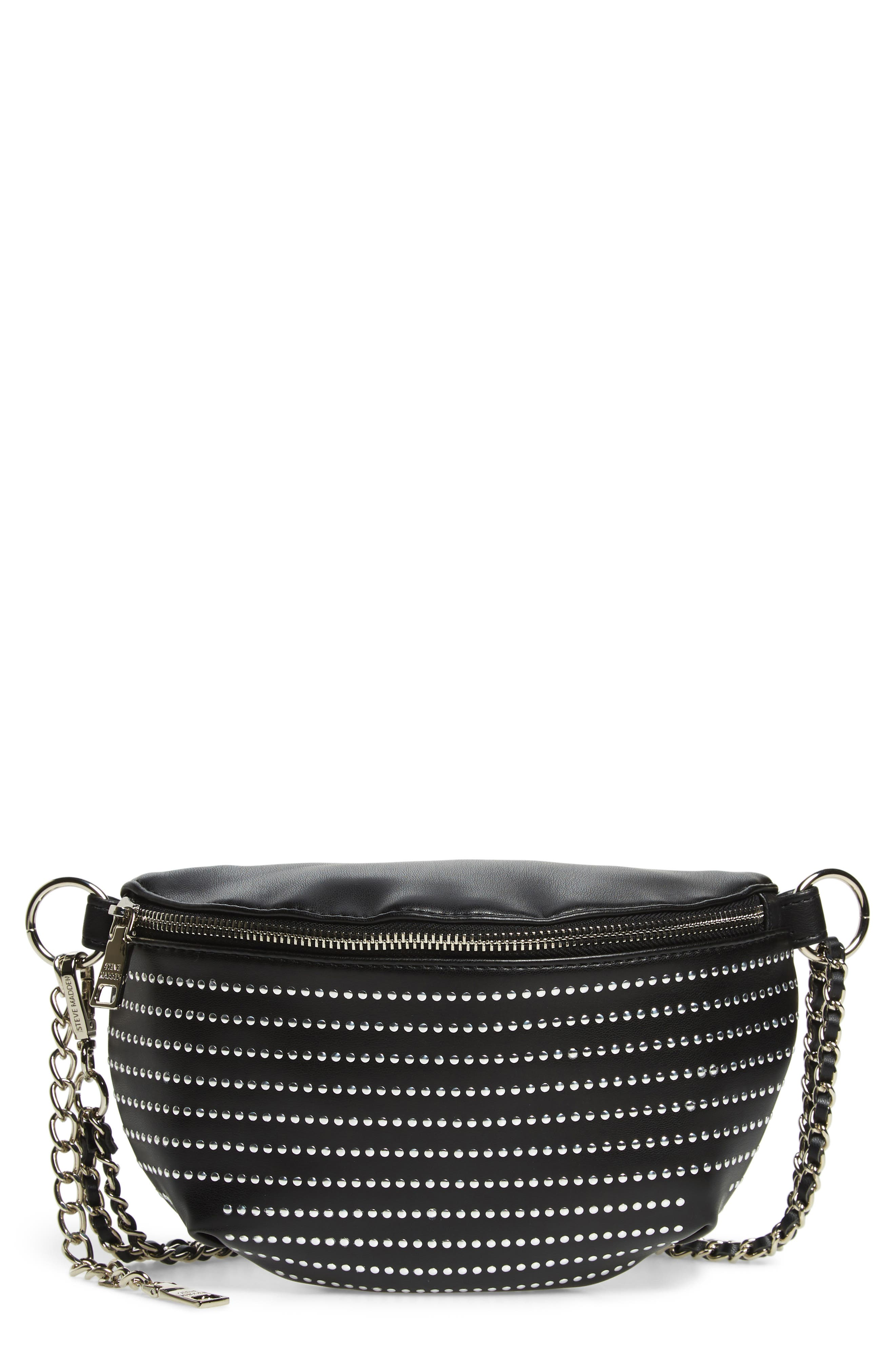 Quilted Faux Leather Fanny Pack,                         Main,                         color, BLACK/ SILVER
