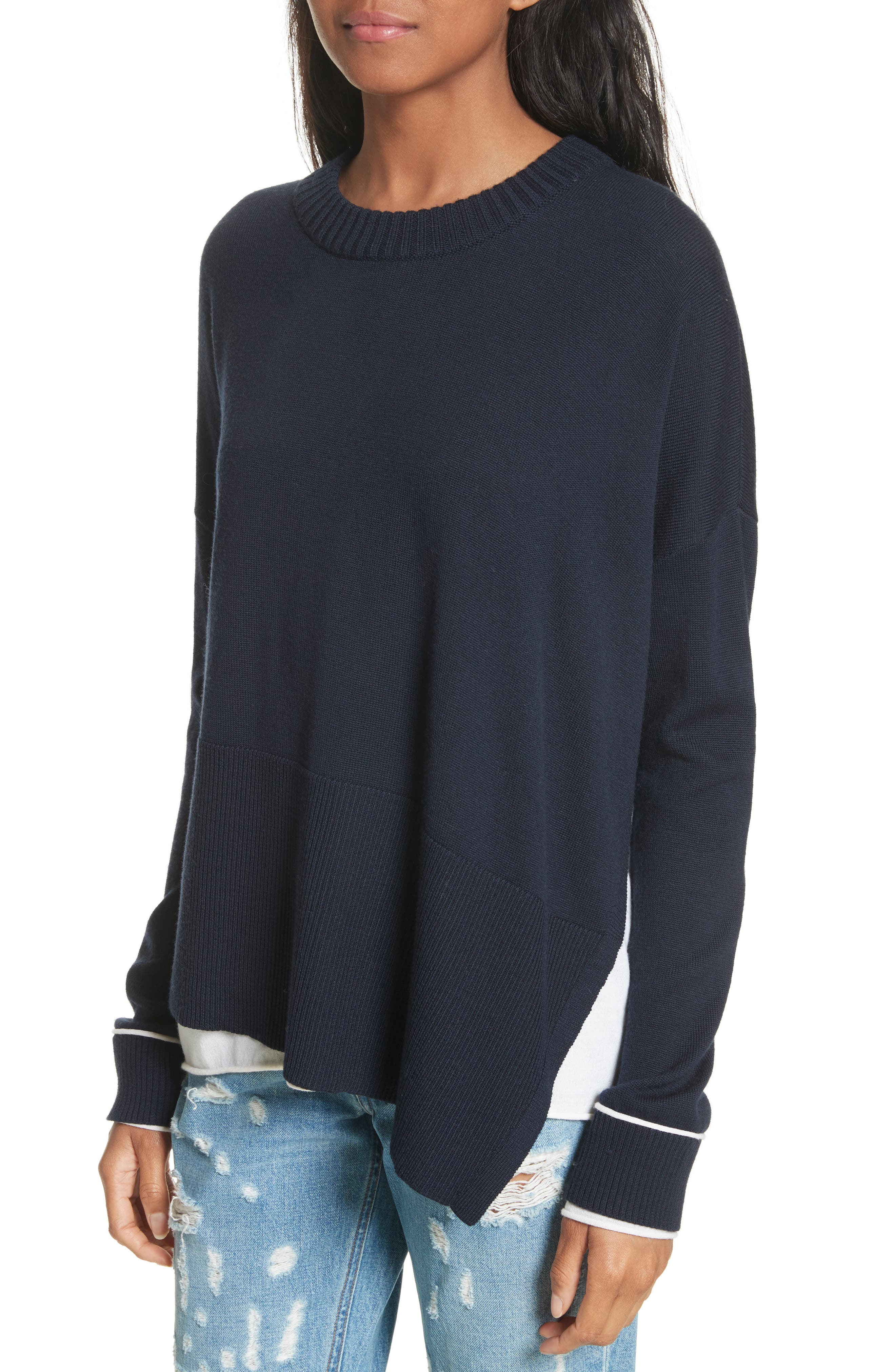 Layered Hem Wool & Cotton Sweater,                             Alternate thumbnail 4, color,                             477
