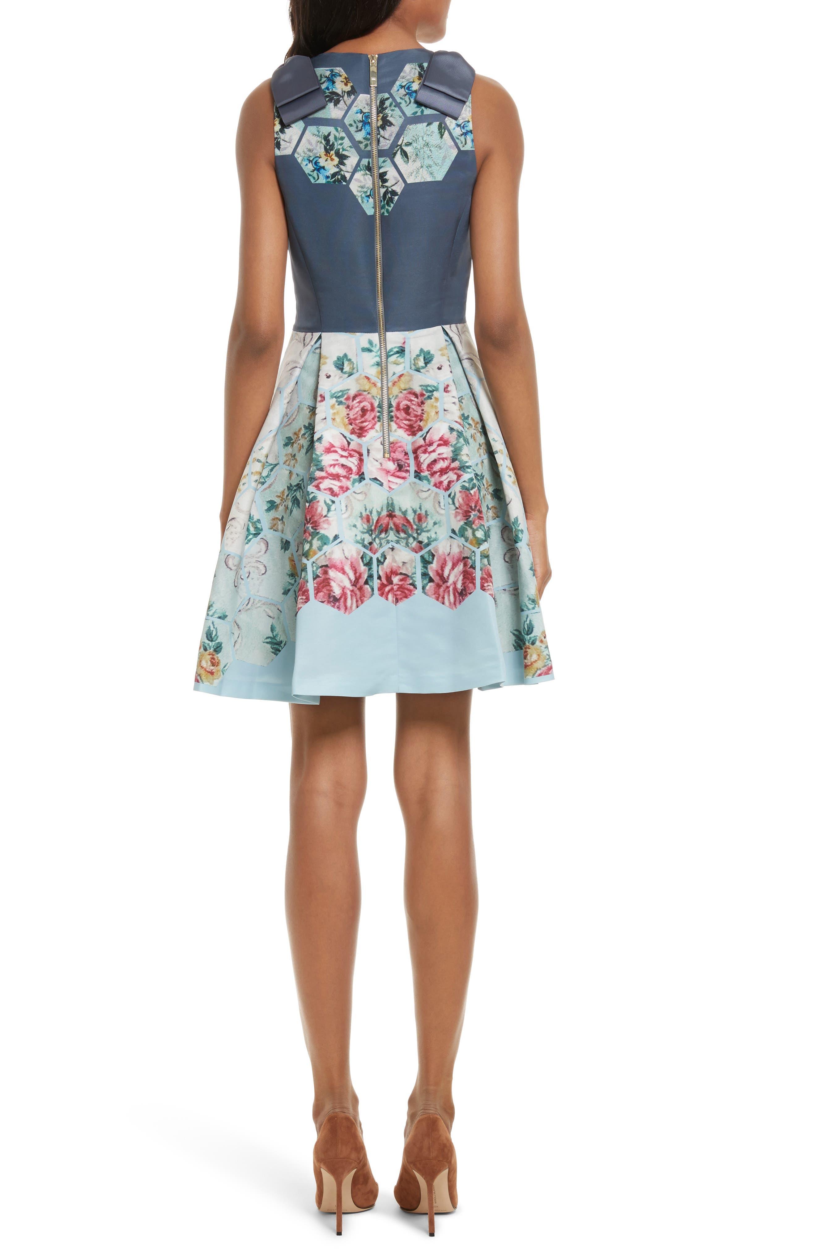 Bow Skater Dress,                             Alternate thumbnail 2, color,