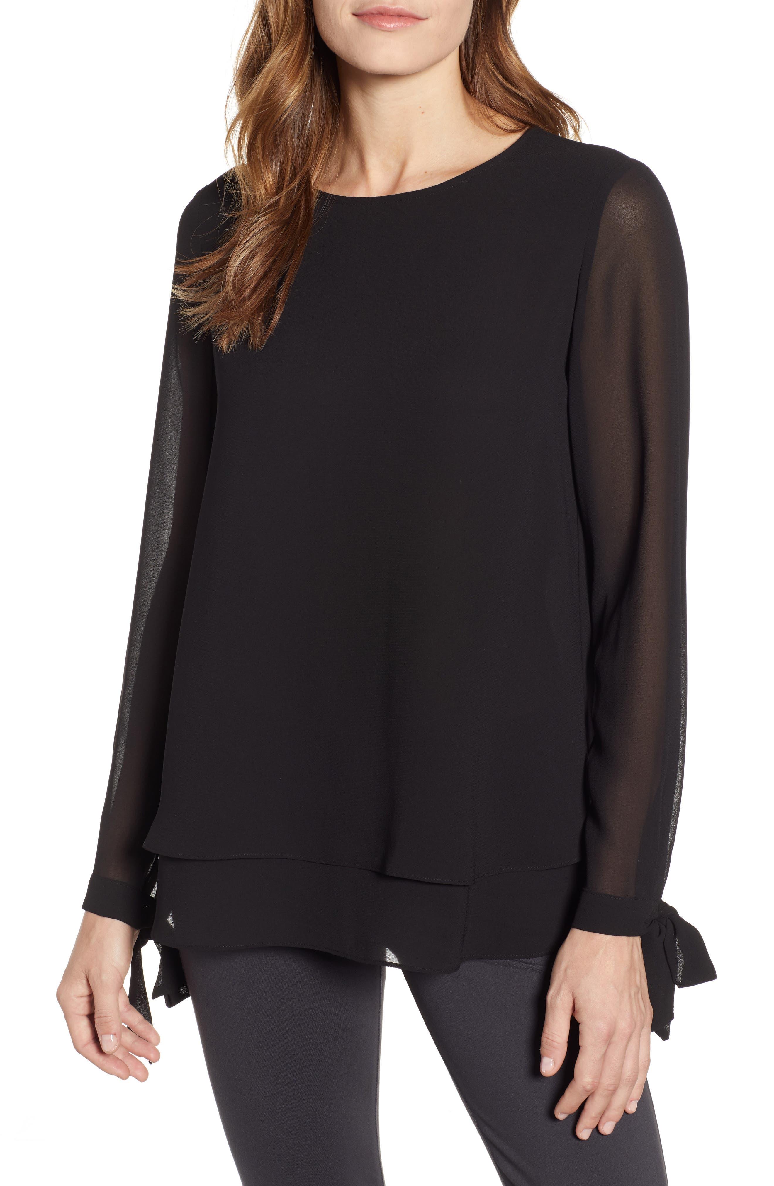 ANNE KLEIN Double Layer Top, Main, color, ANNE BLACK