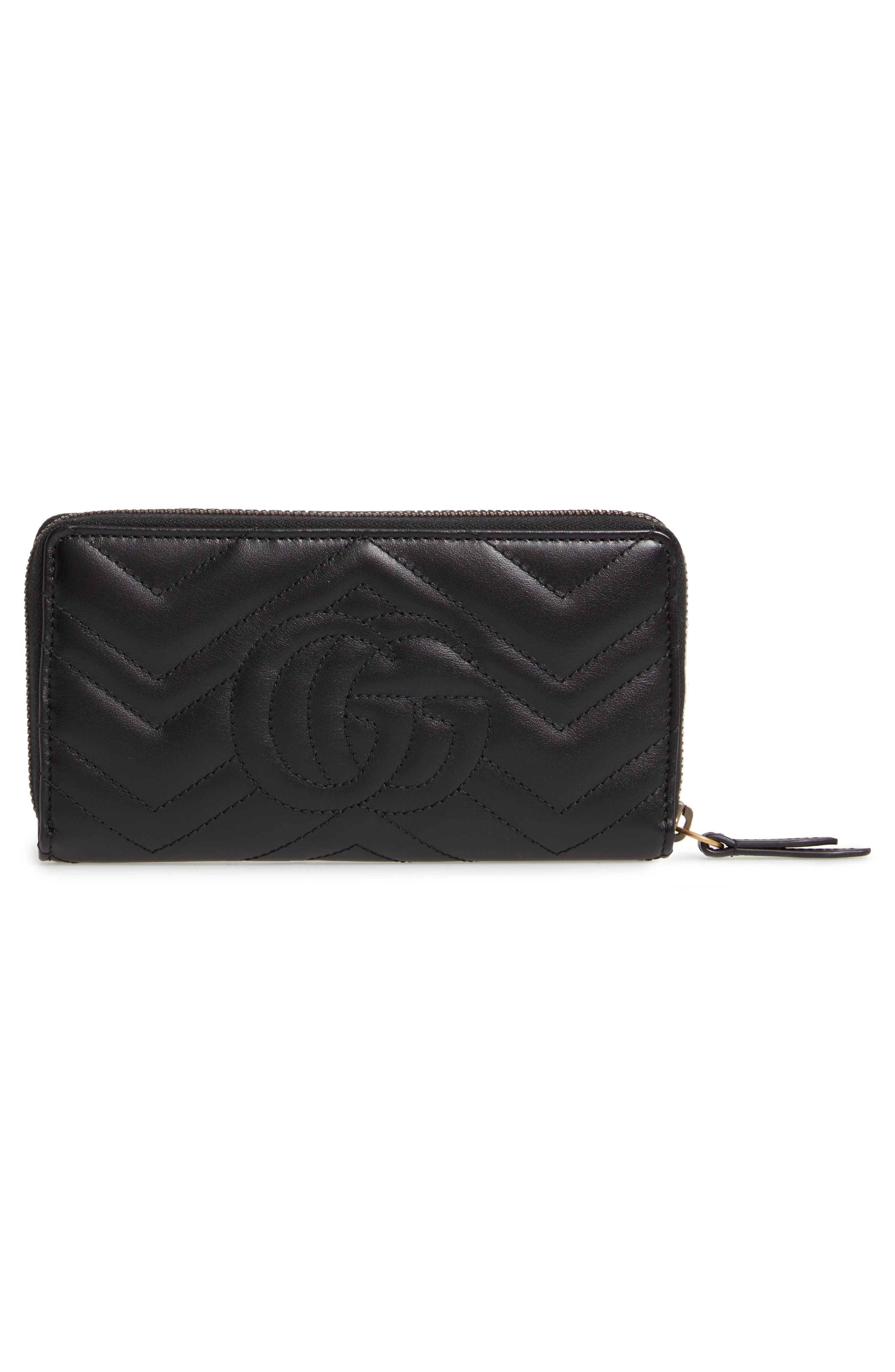 GUCCI,                             GG Marmont 2.0 Zip Around Wallet,                             Alternate thumbnail 3, color,                             NERO