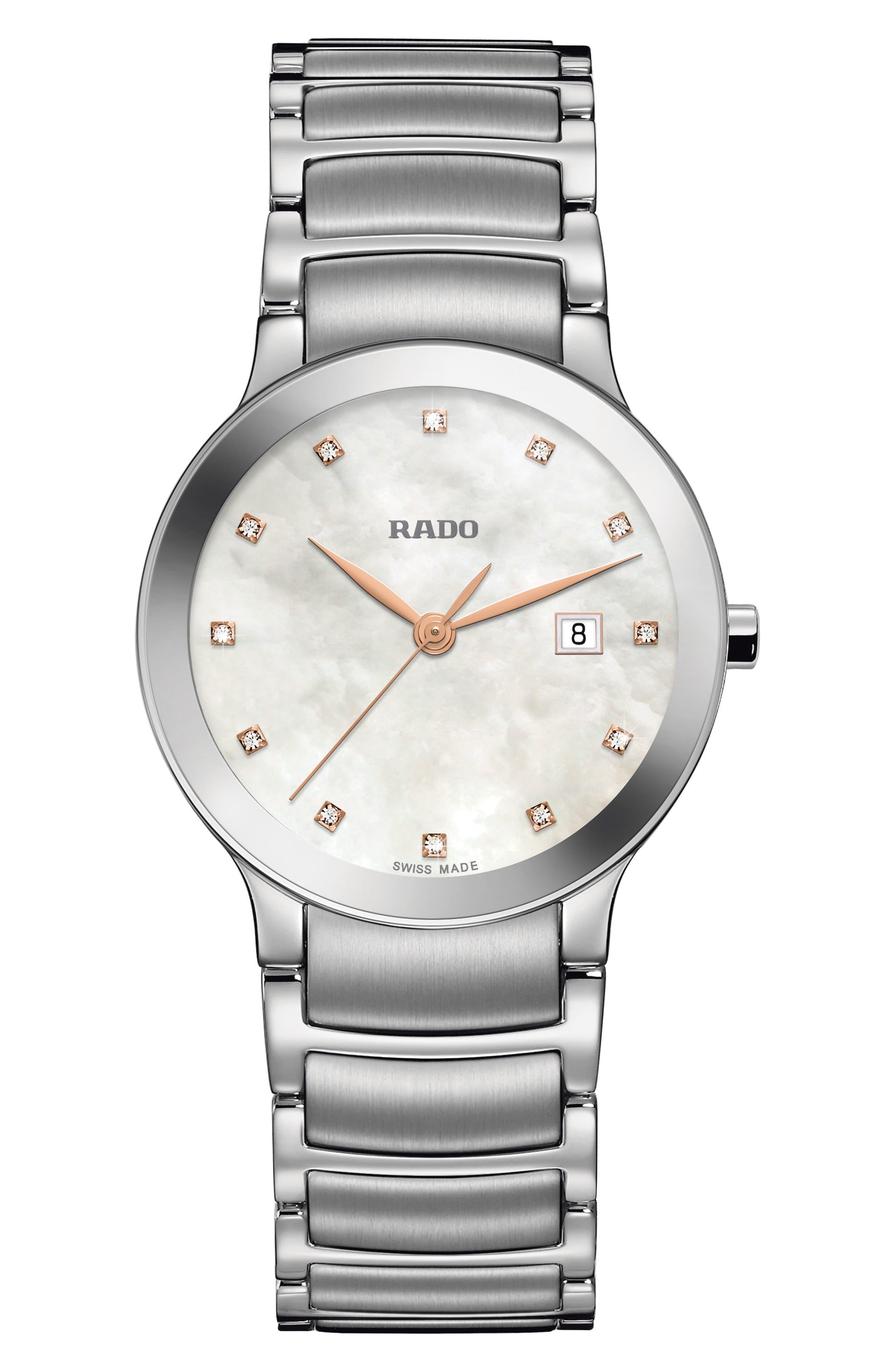 Centrix Diamonds Bracelet Watch, 28mm,                             Main thumbnail 1, color,                             SILVER/ MOP/ SILVER