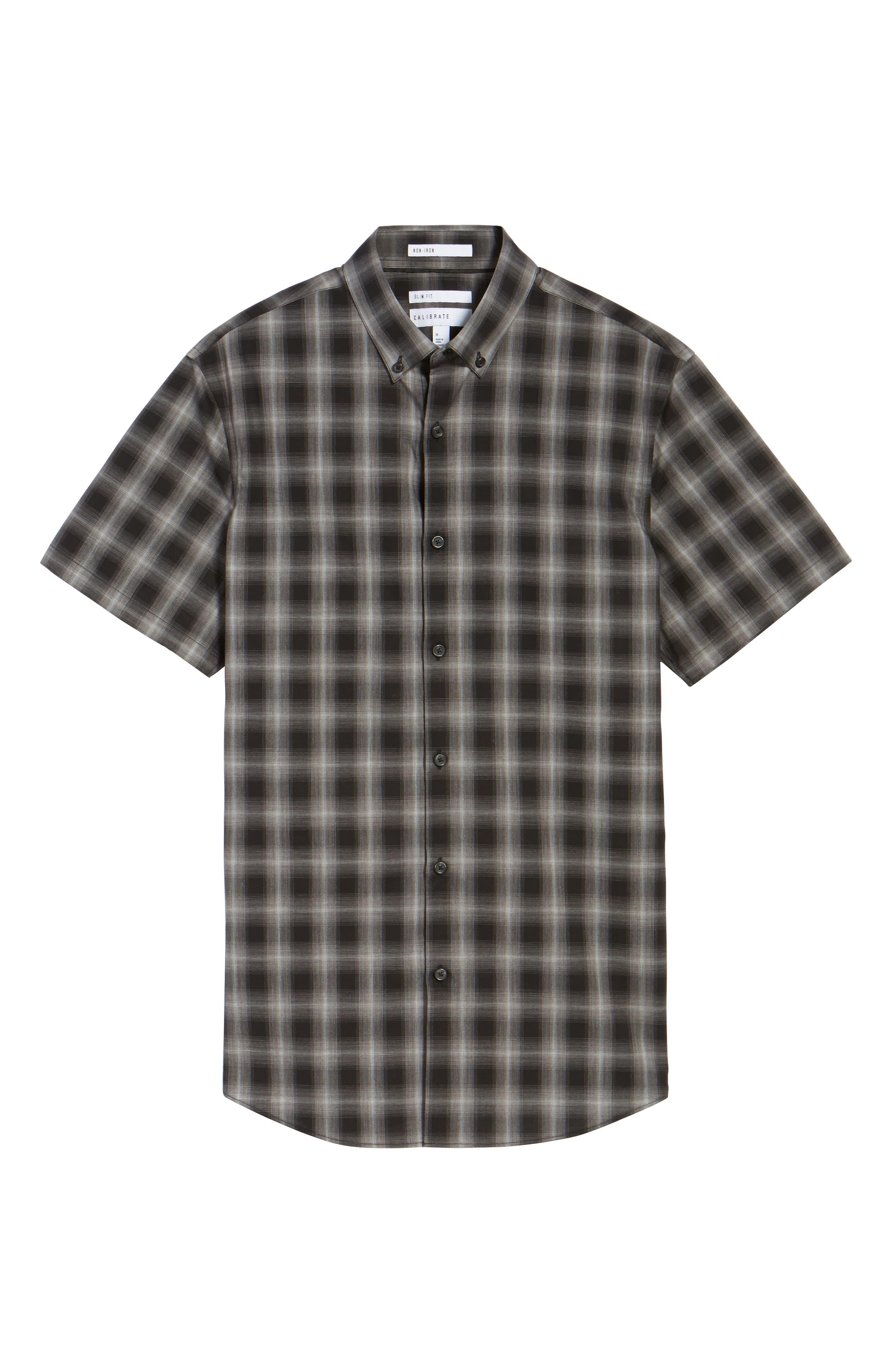 Plaid Non-Iron Sport Shirt,                             Alternate thumbnail 6, color,                             001