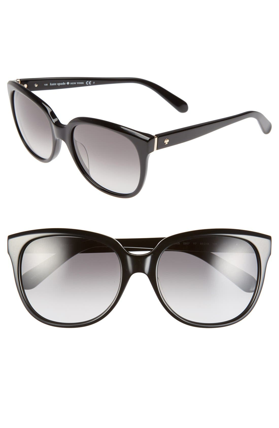 'bayleigh' 55mm sunglasses,                         Main,                         color, 001