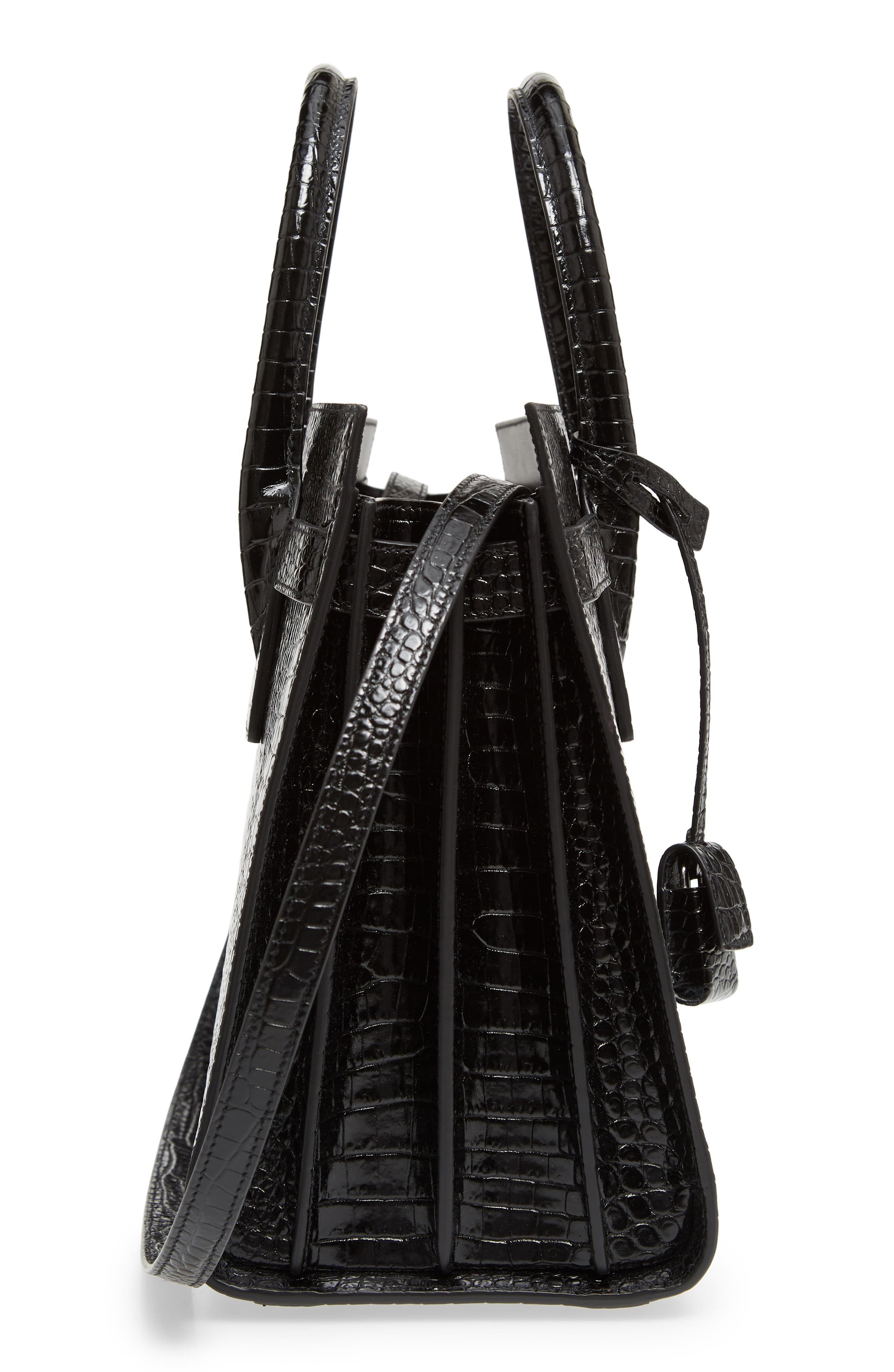 Small Sac de Jour Croc Embossed Calfskin Leather Tote,                             Alternate thumbnail 5, color,                             NERO/ NERO