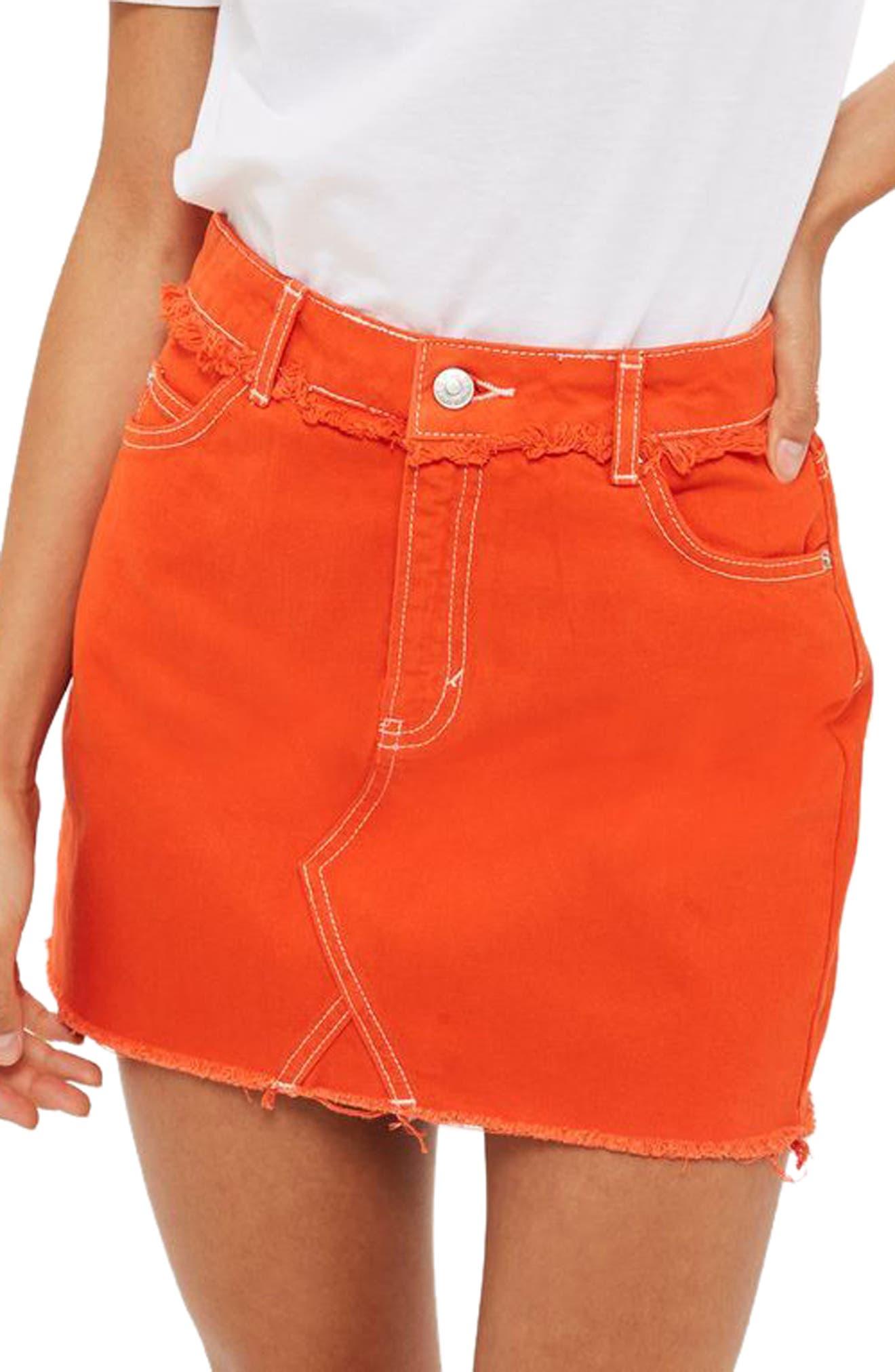 Denim Miniskirt,                         Main,                         color, 600