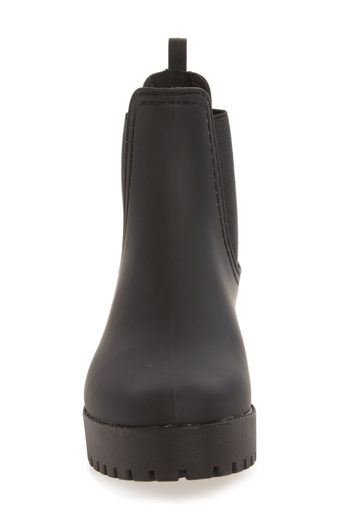 Cloudy Waterproof Chelsea Rain Boot,                             Alternate thumbnail 4, color,                             BLACK MATTE BLACK