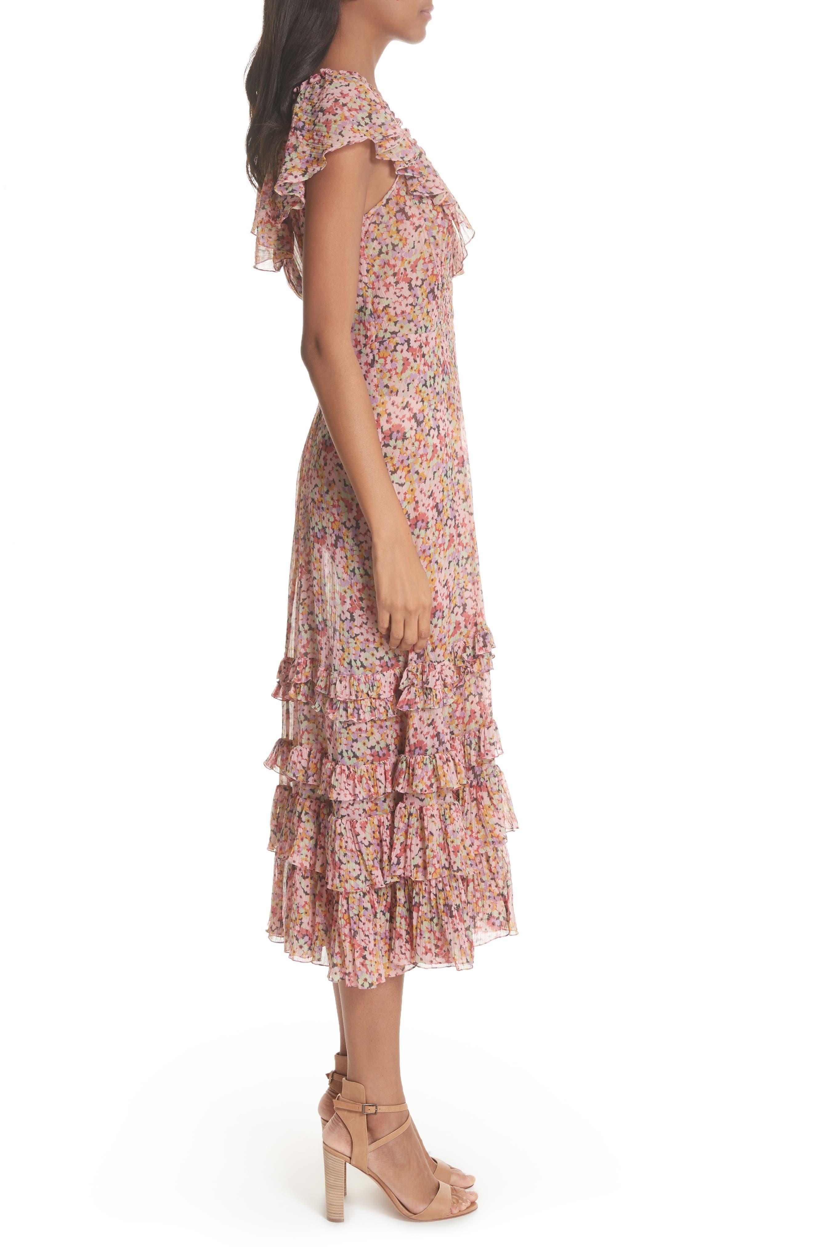 Margo Floral Ruffled Midi Dress,                             Alternate thumbnail 3, color,                             686