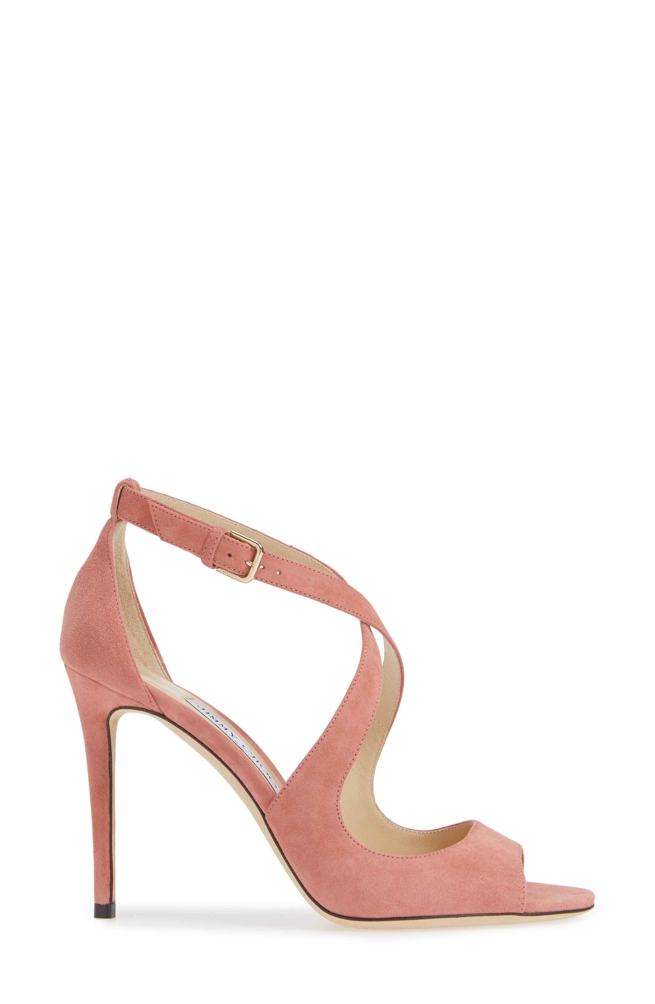 Emily Peep Toe Sandal,                             Alternate thumbnail 3, color,                             ROSEWOOD SUEDE
