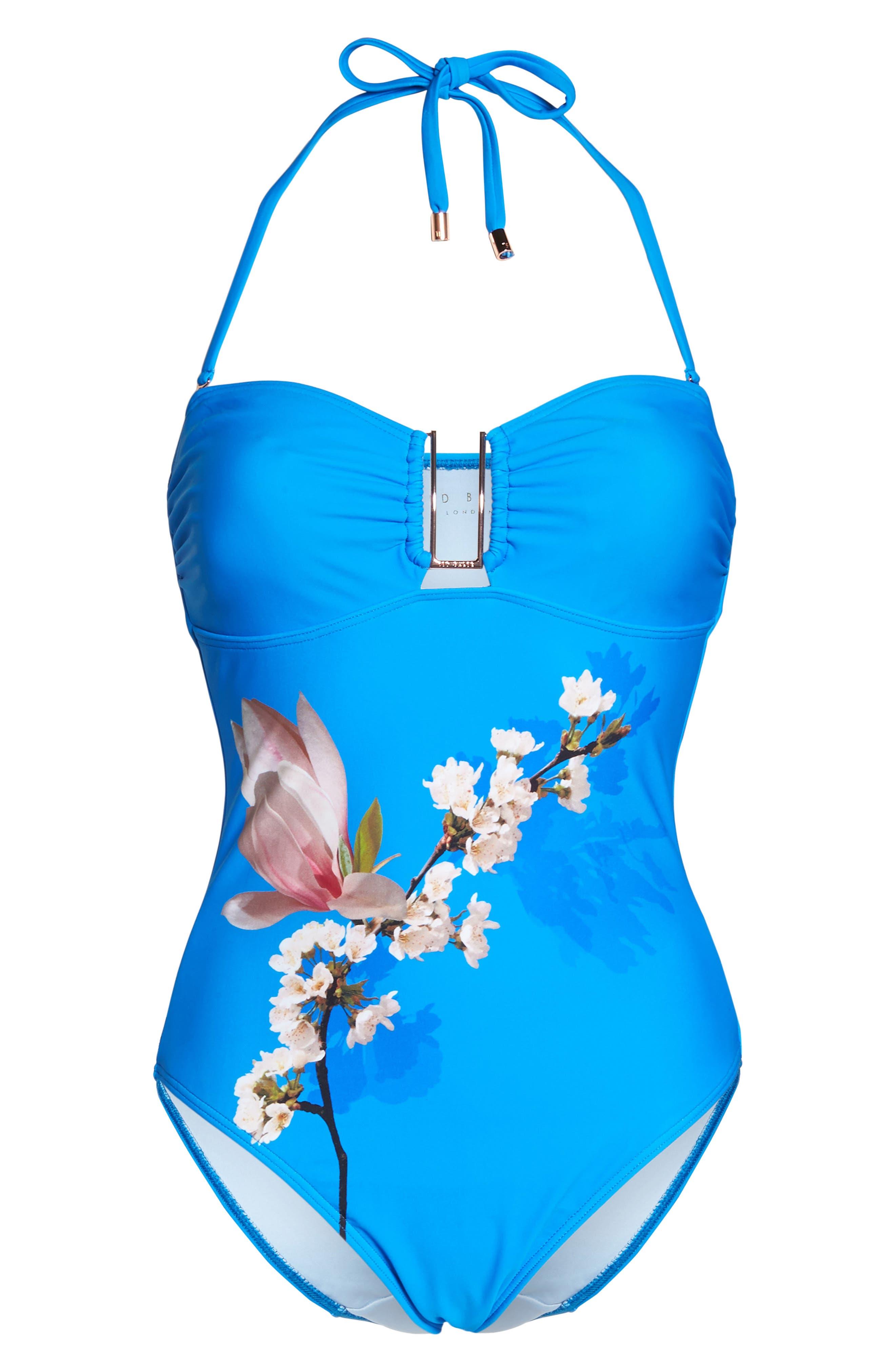 Harmony Bandeau One-Piece Swimsuit,                             Alternate thumbnail 7, color,                             BRIGHT BLUE
