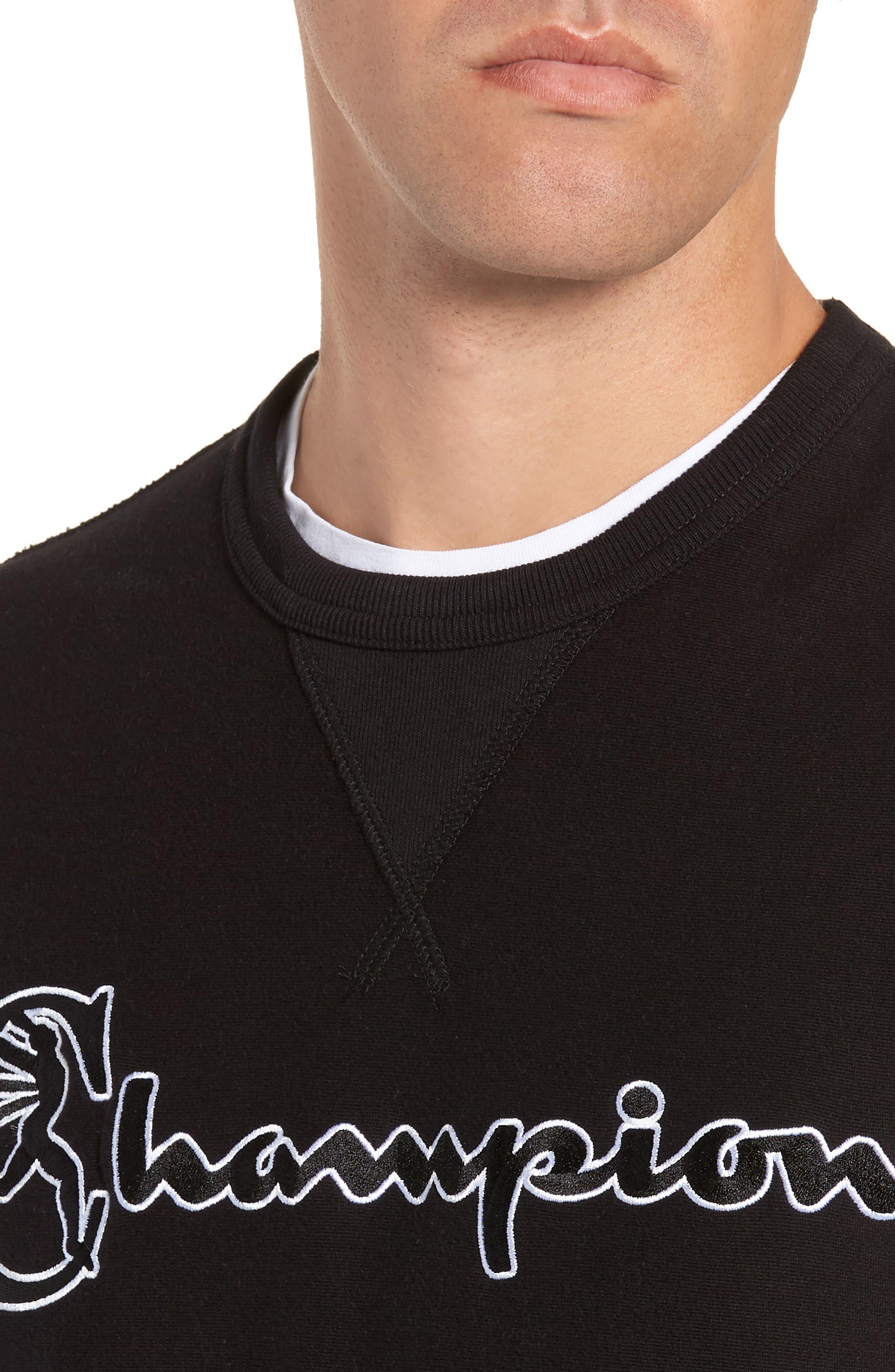 + Champion Script Sweatshirt,                             Alternate thumbnail 4, color,                             BLACK