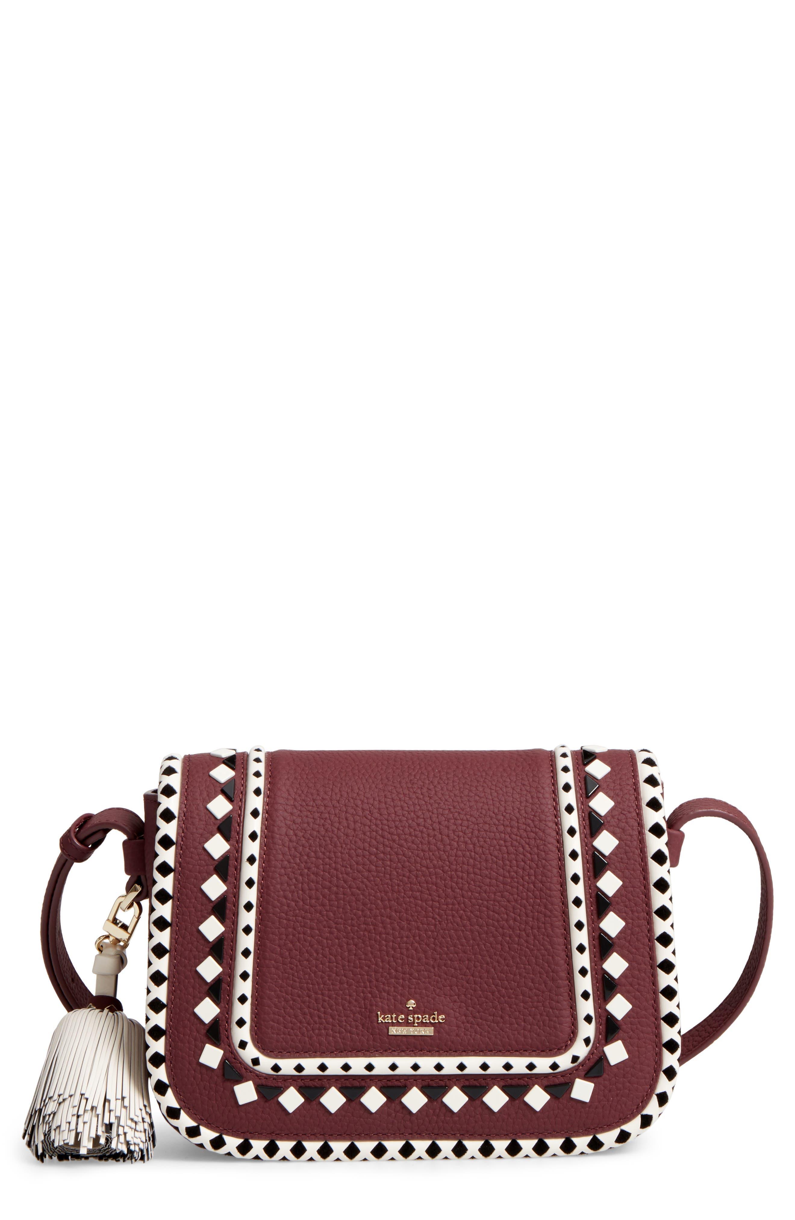 crown street - jasper leather saddle bag,                             Main thumbnail 2, color,