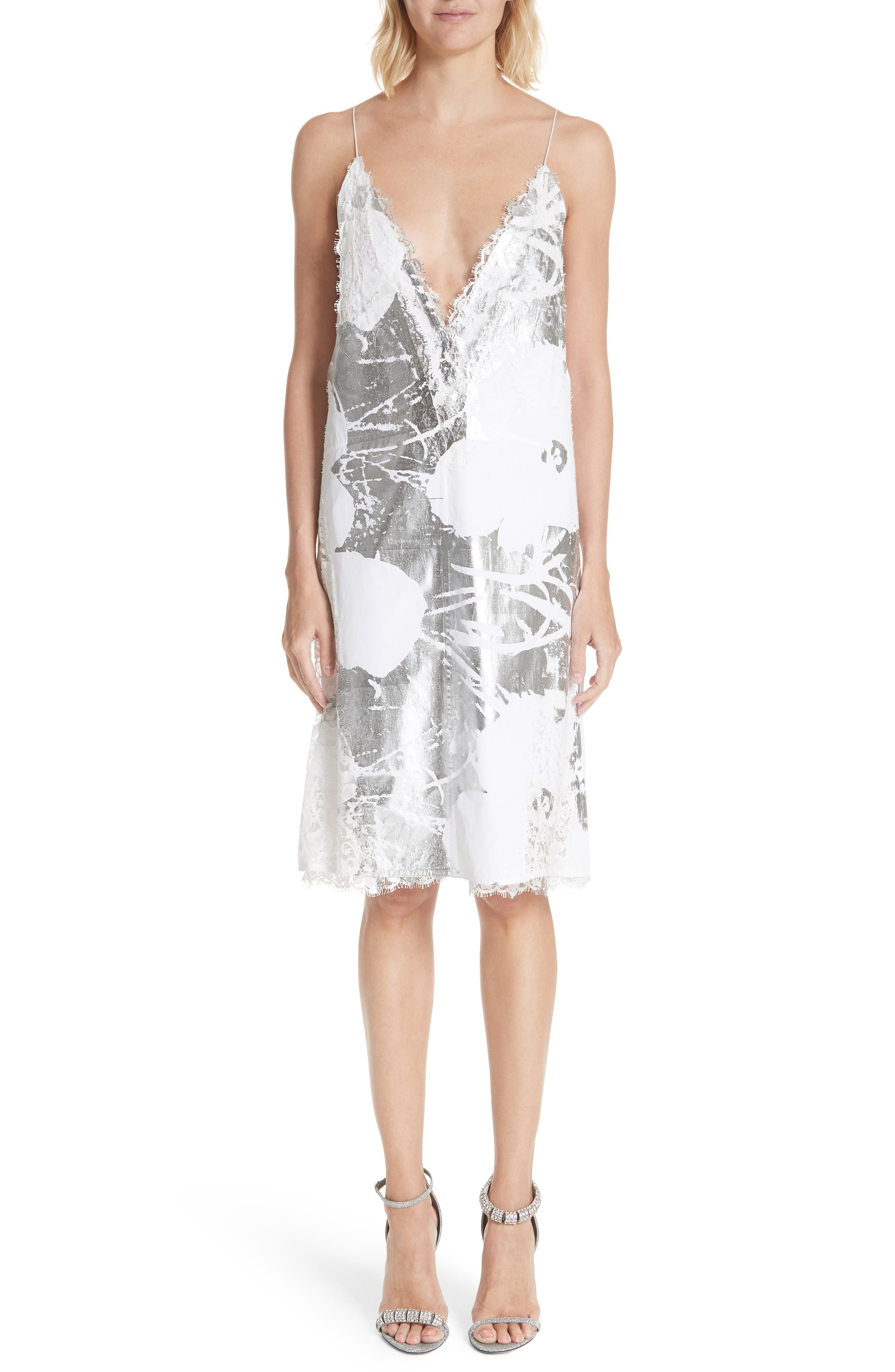 x Andy Warhol Foundation Foil Flowers Slipdress,                             Main thumbnail 1, color,                             OPTIC WHITE