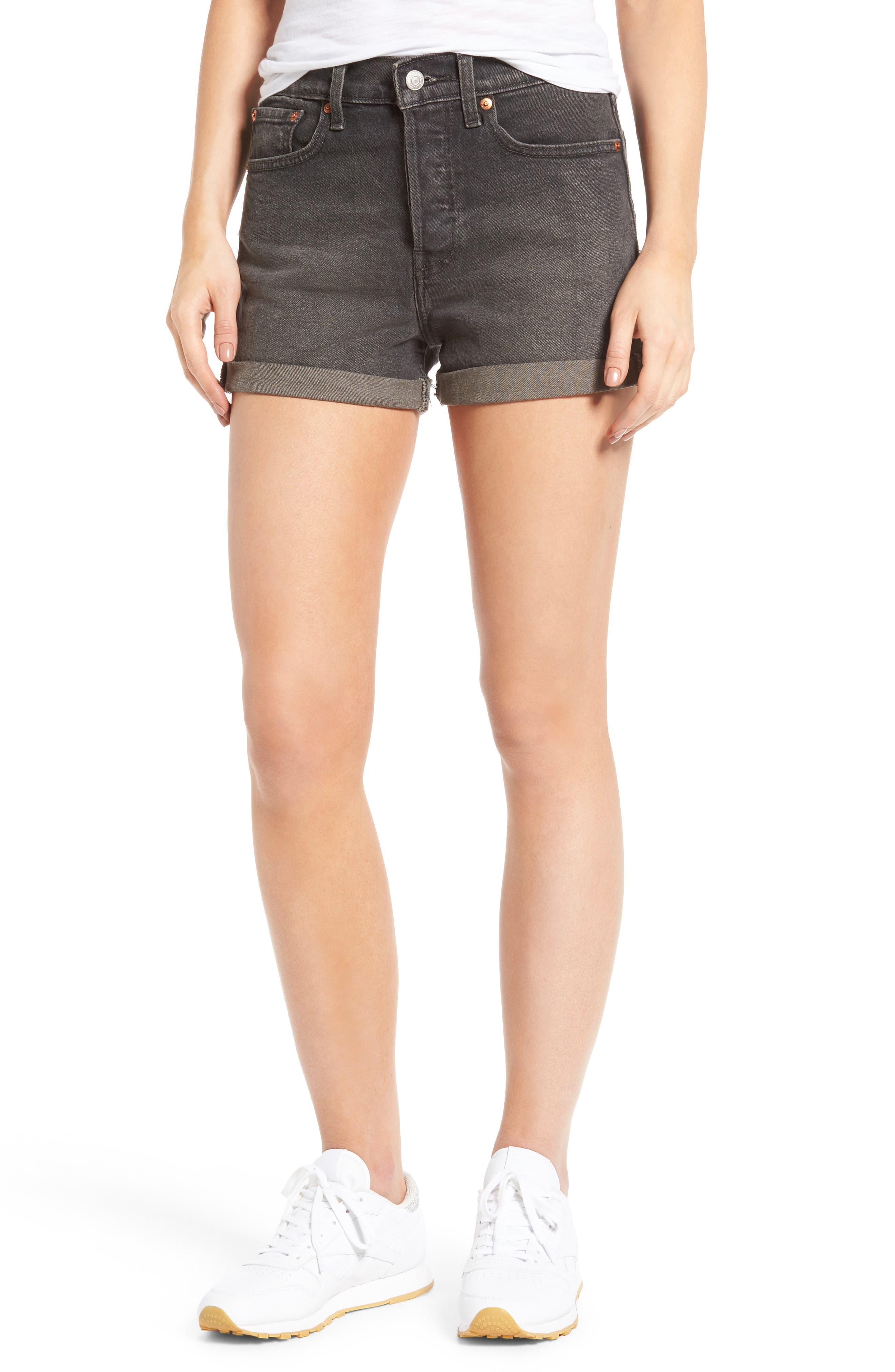 Wedgie High Waist Denim Shorts,                         Main,                         color, 001