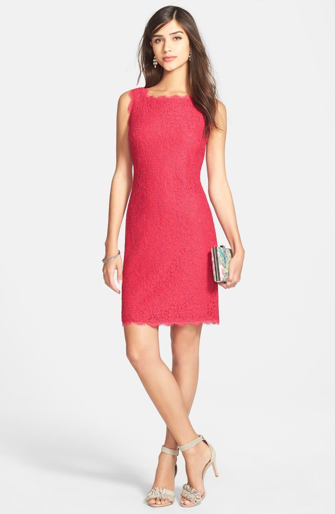 Boatneck Lace Sheath Dress,                             Alternate thumbnail 115, color,