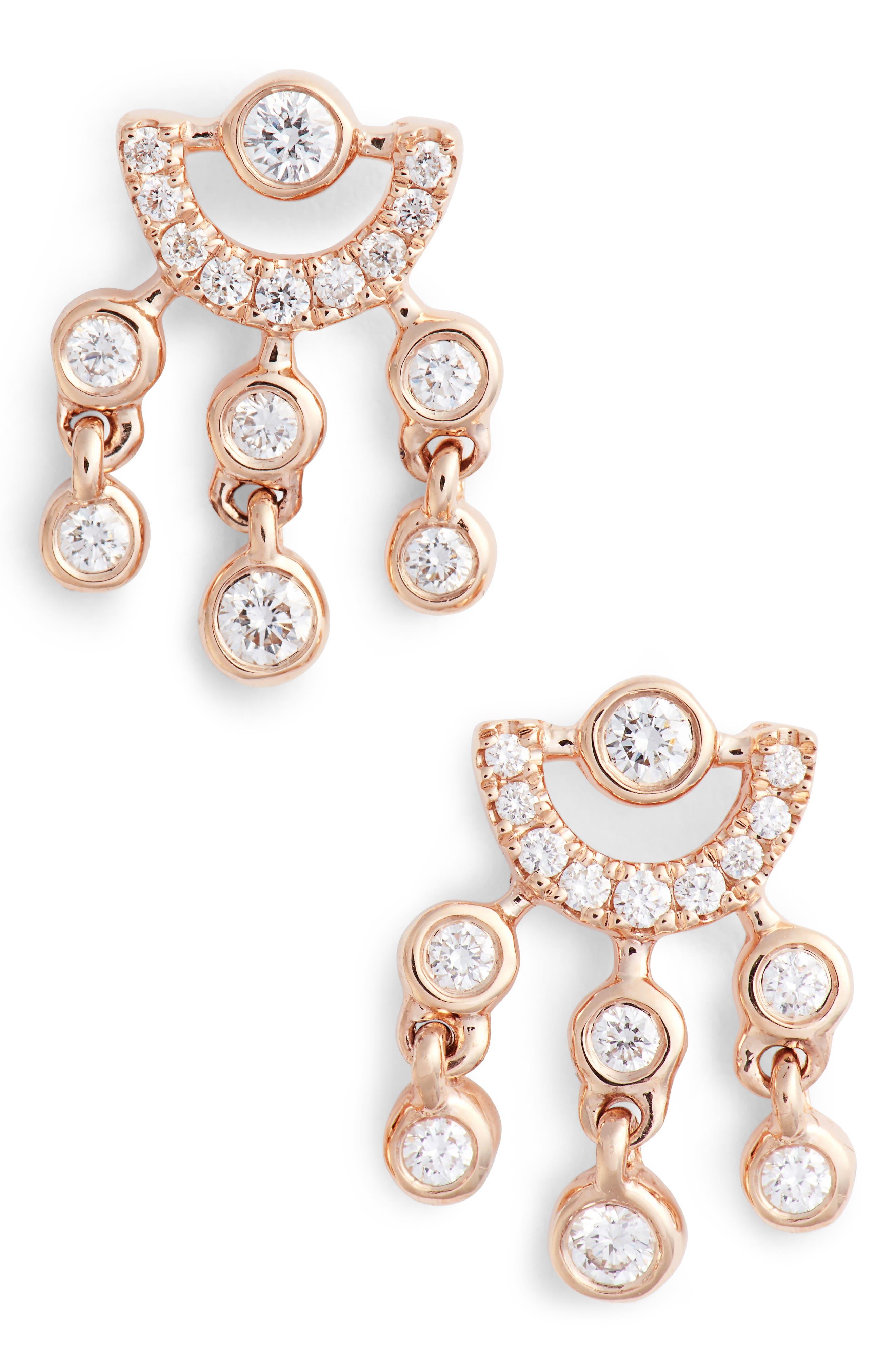 Lulu Jack Diamond Drop Earrings,                             Main thumbnail 1, color,                             ROSE GOLD