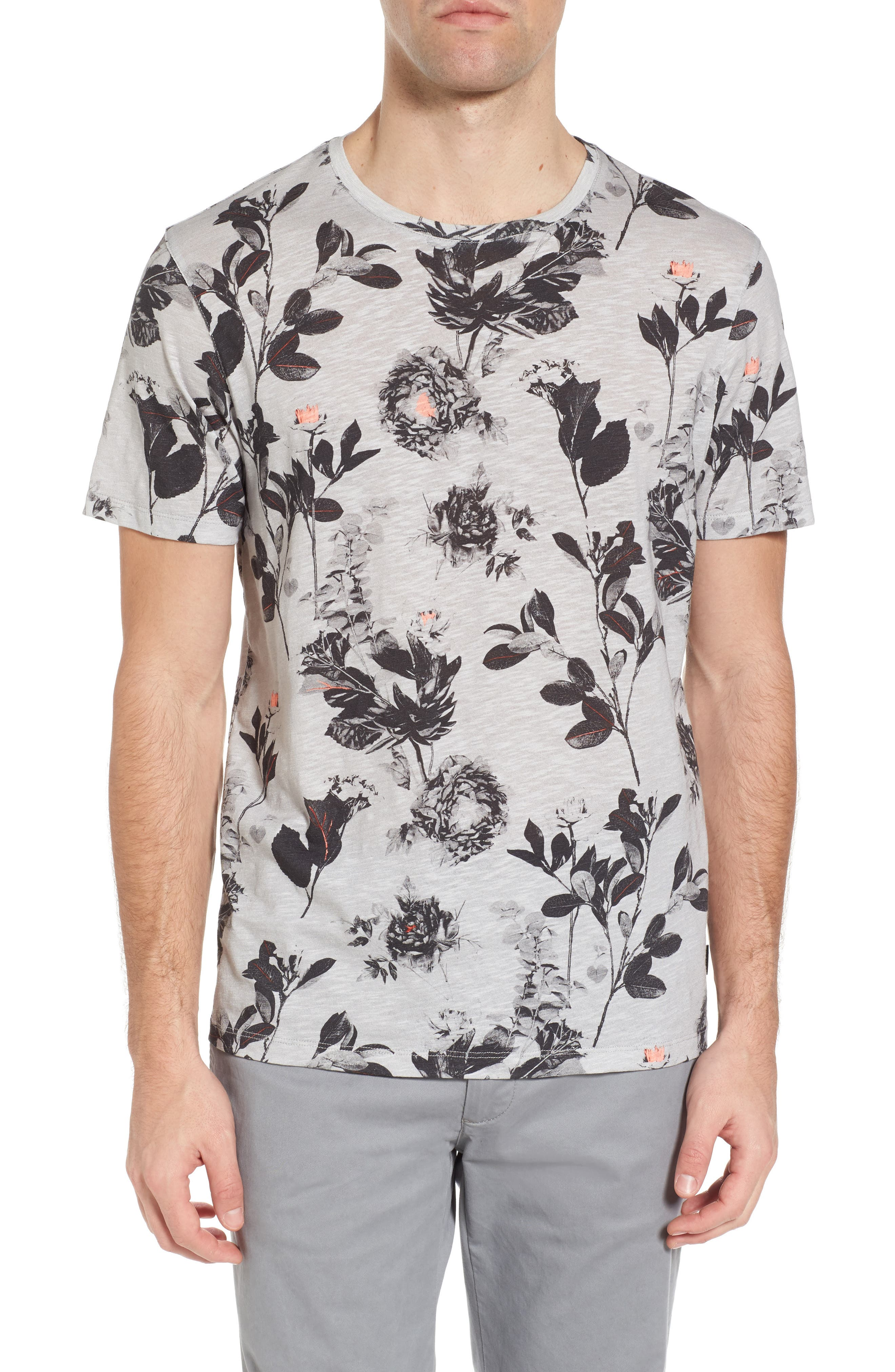 Doberma Trim Fit Floral Print T-Shirt,                             Main thumbnail 1, color,