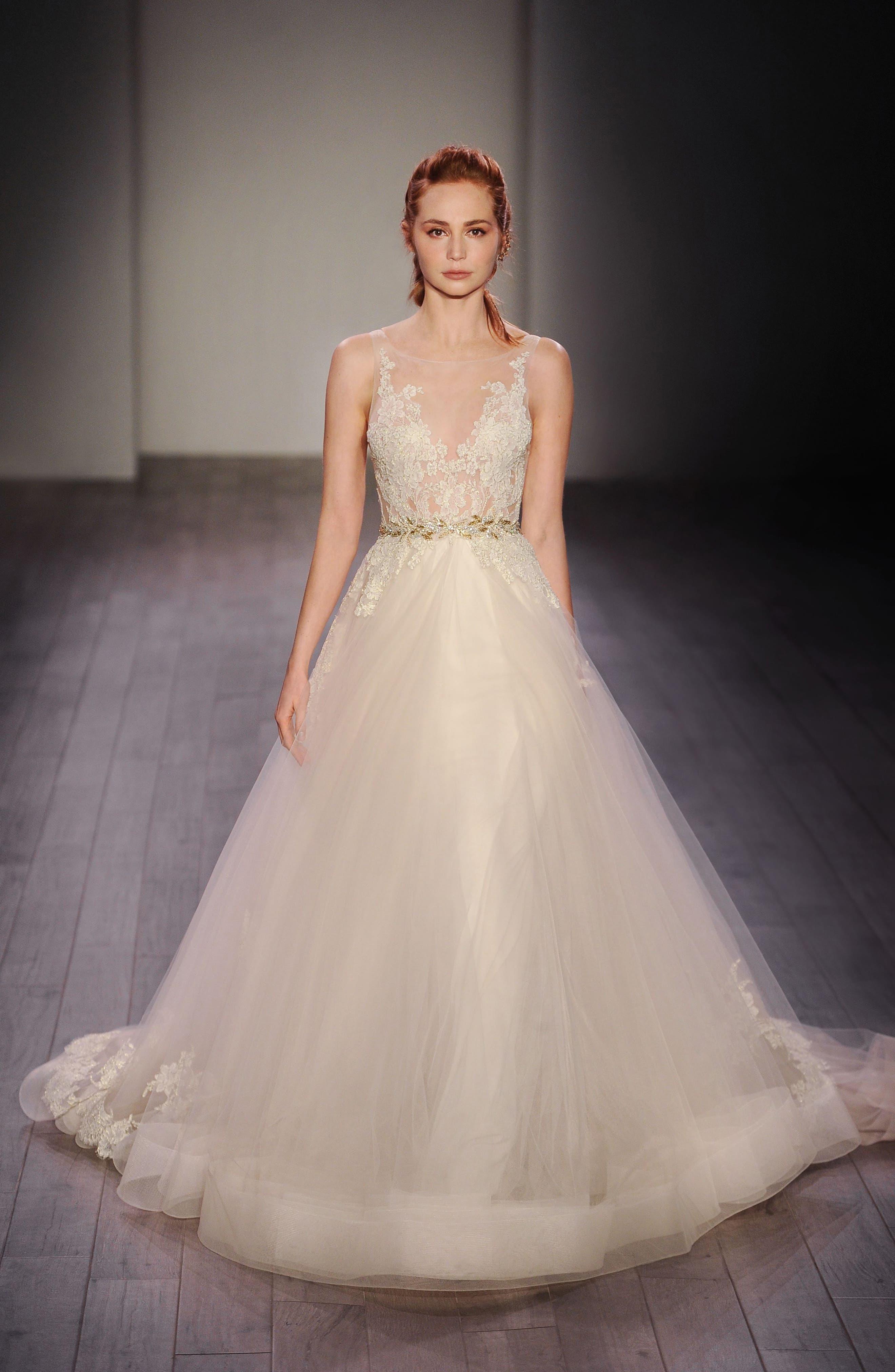Lace Appliqué Tulle Ballgown Dress,                             Alternate thumbnail 5, color,                             IVORY/GOLD/CHAMPAGNE