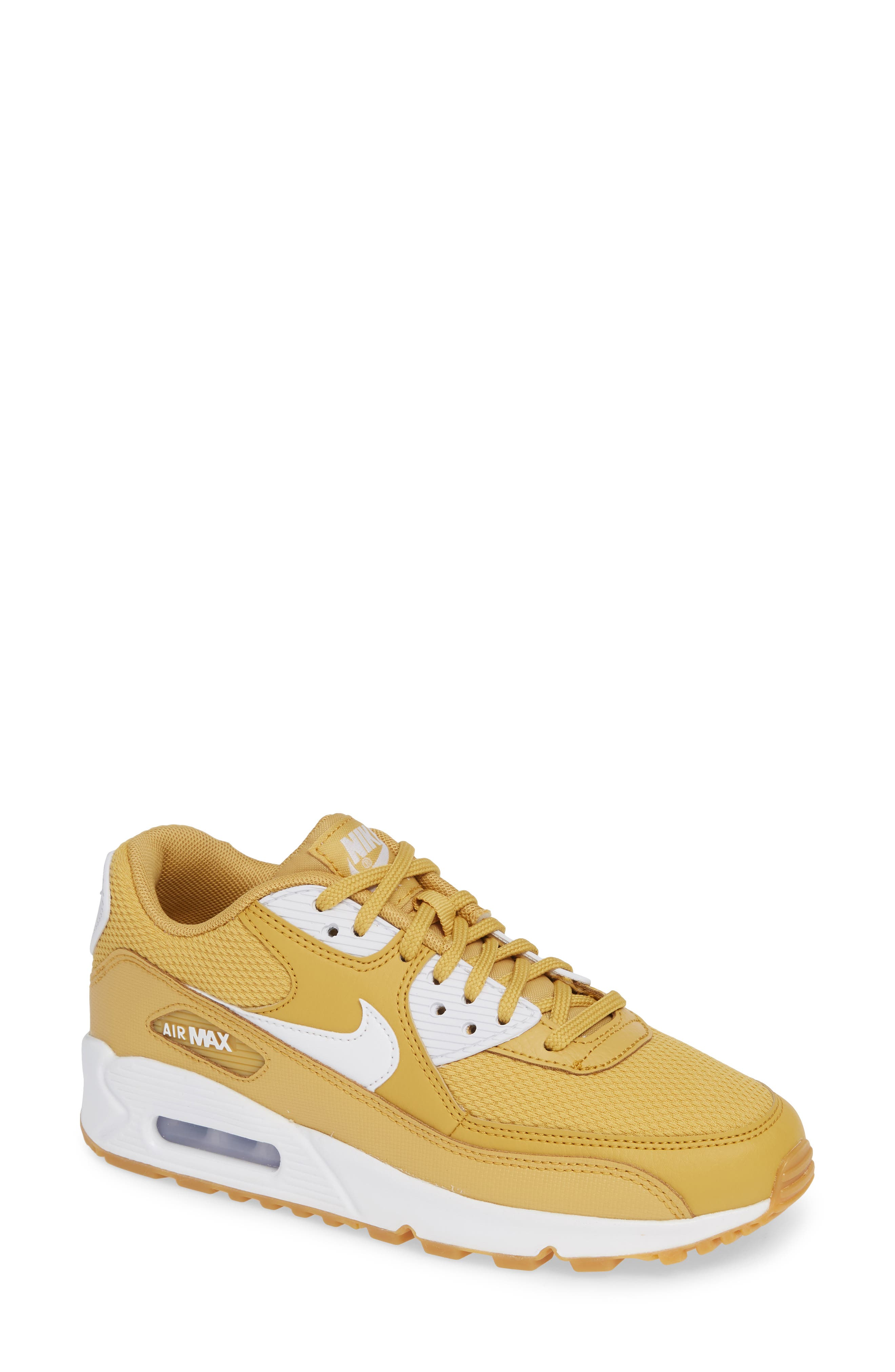 'Air Max 90' Sneaker,                             Main thumbnail 1, color,                             WHEAT GOLD/ WHITE/ LIGHT BROWN