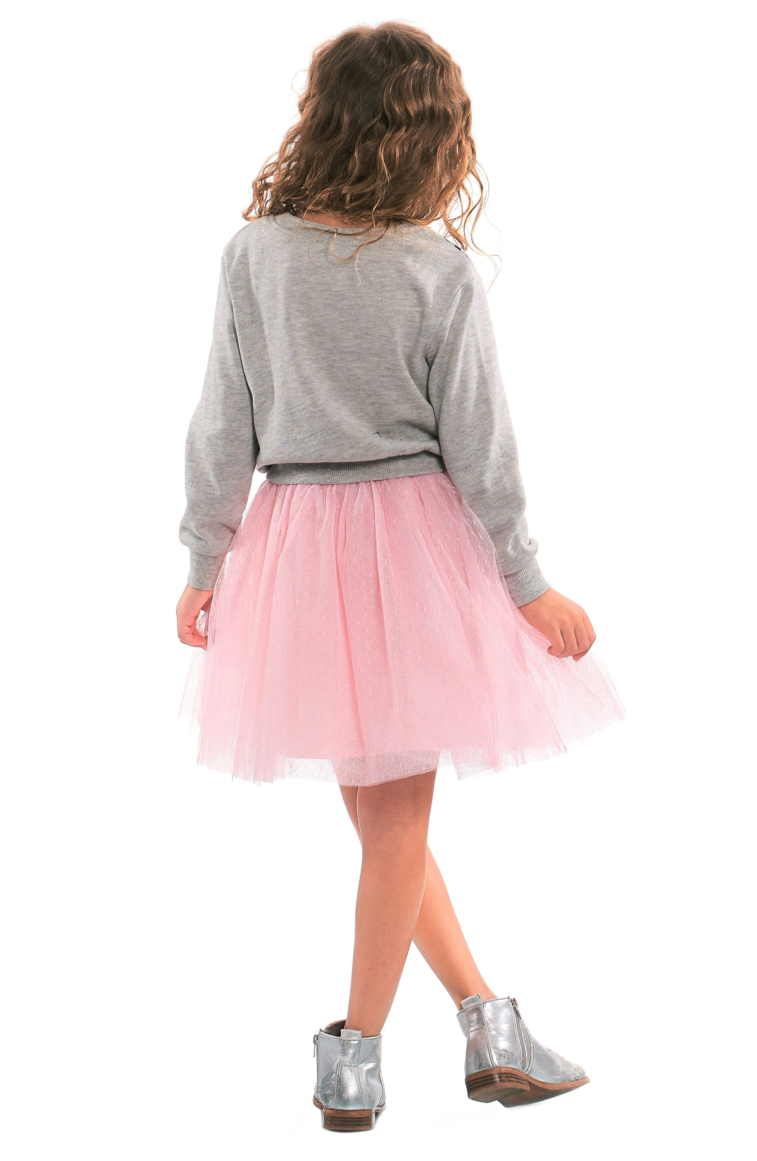 Unicorn Sweatshirt & Tutu Dress Set,                             Alternate thumbnail 3, color,                             GREY PINK