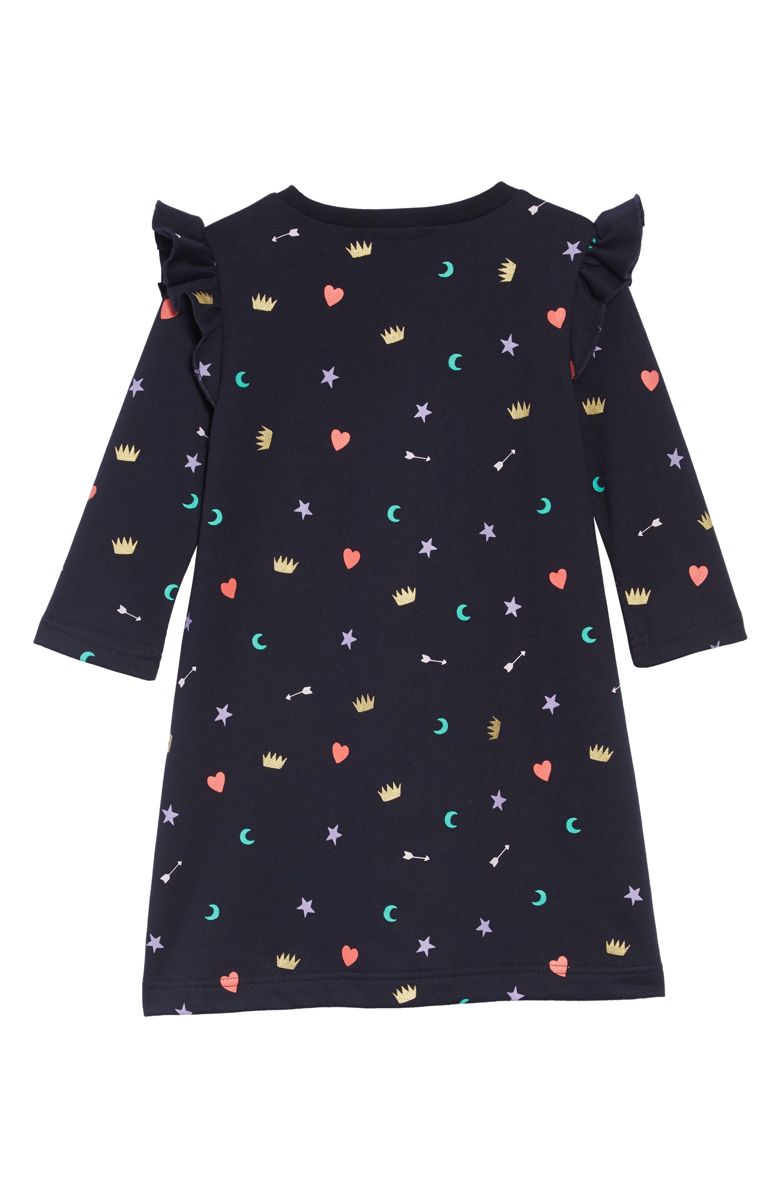 Print Ruffle Sleeve Dress,                             Alternate thumbnail 2, color,                             NAVY MULTI