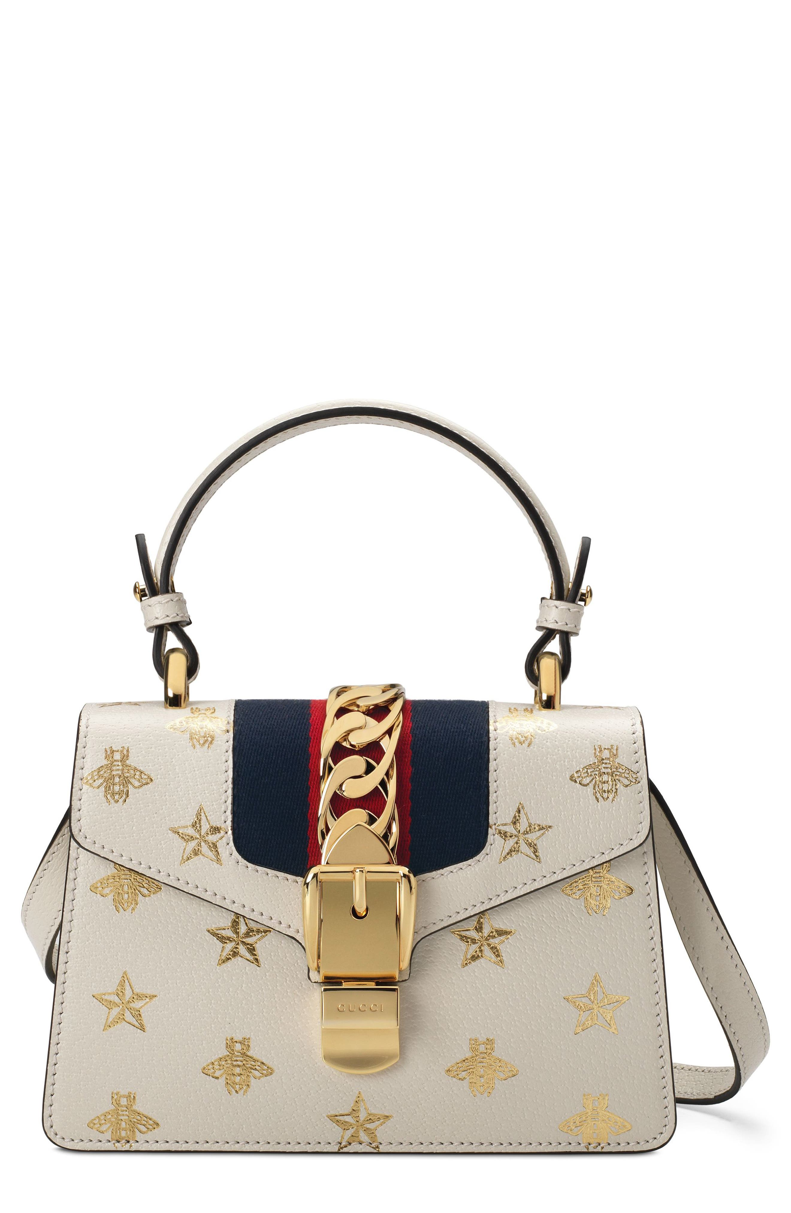 Small Sylvie Top Handle Leather Shoulder Bag - White in Mystic White/ Oro/ Blue/ Red