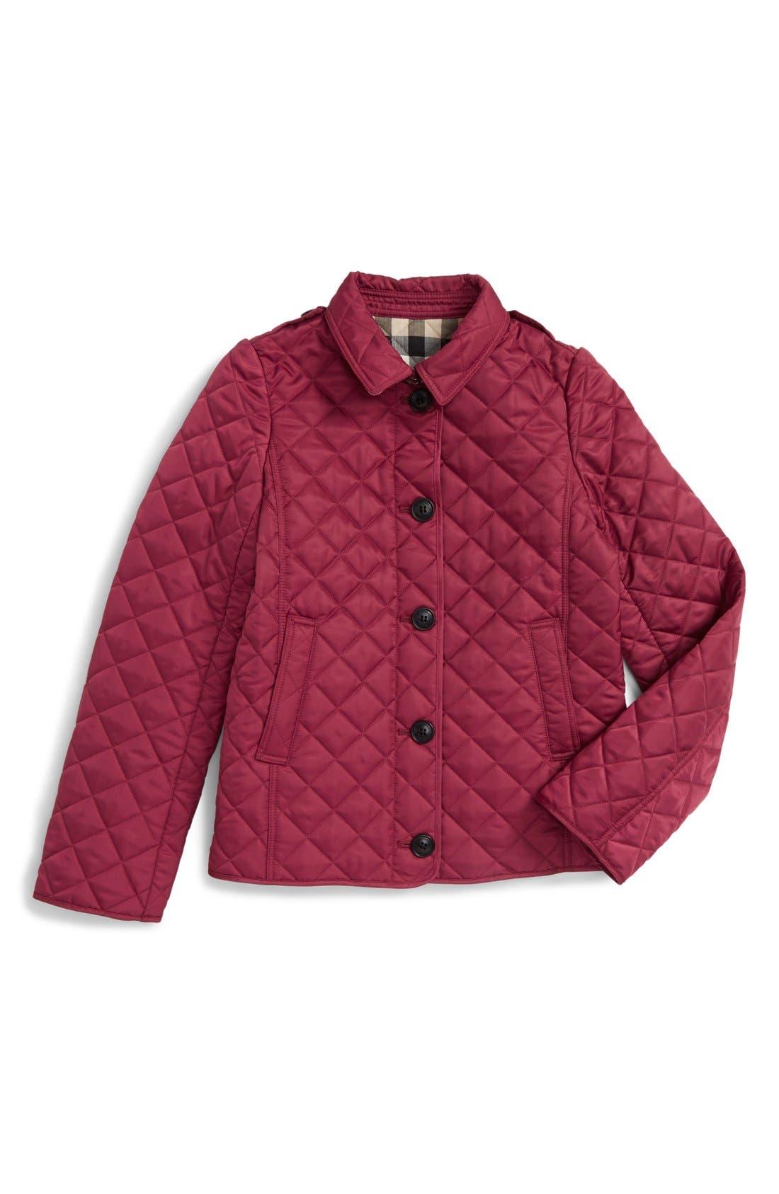 'MiniAshurst' Quilted Jacket,                             Main thumbnail 1, color,                             FRITILLARY PINK