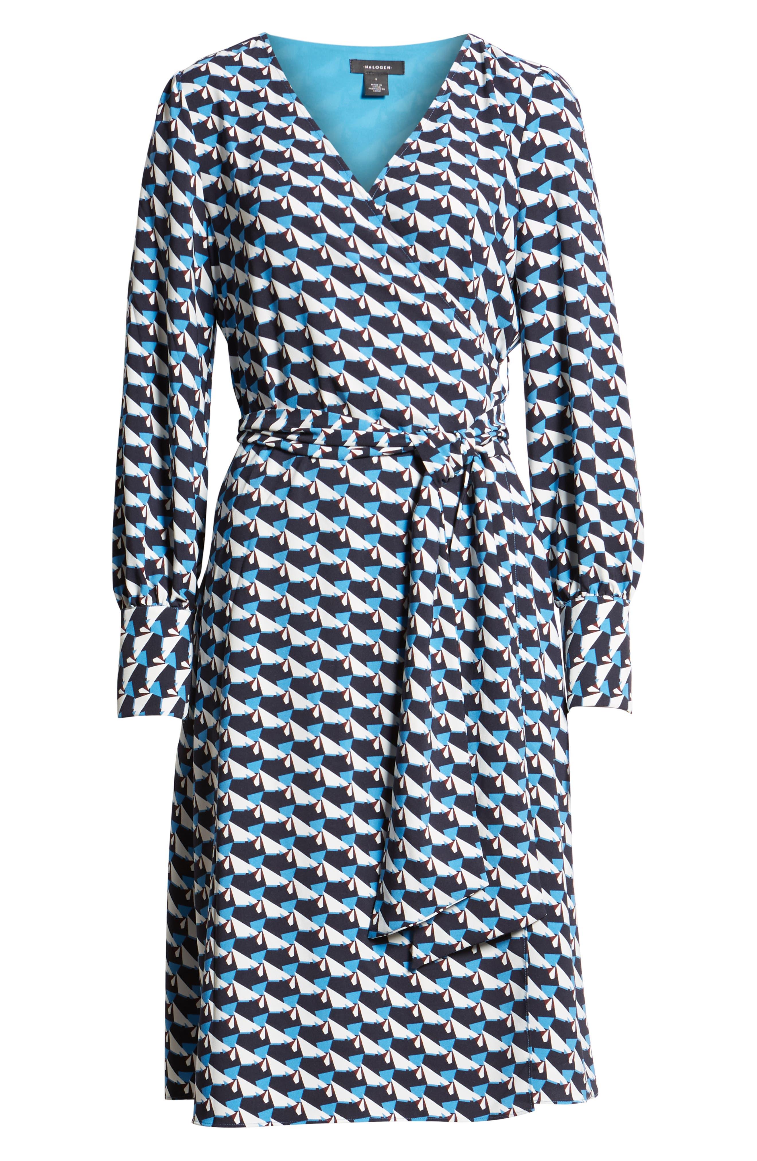 Wrap Dress, Alternate, color, BLUE- IVORY GEO PRINT
