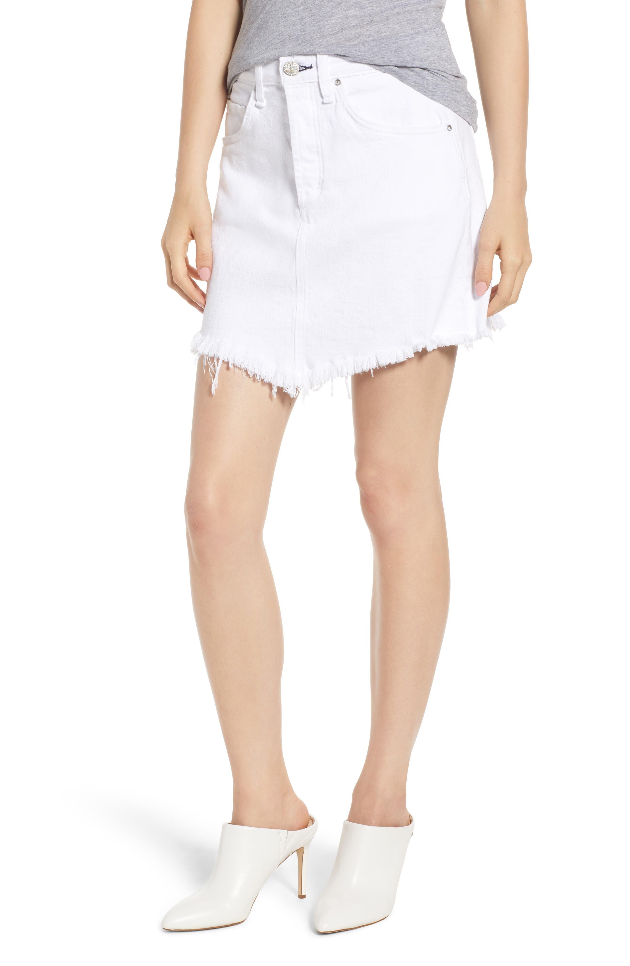 Izabel Angled Hem Denim Skirt,                             Main thumbnail 1, color,                             WHITE LIE