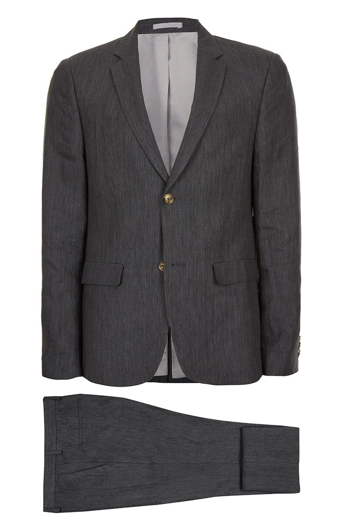 Skinny Fit Linen Suit Jacket,                             Alternate thumbnail 7, color,                             021